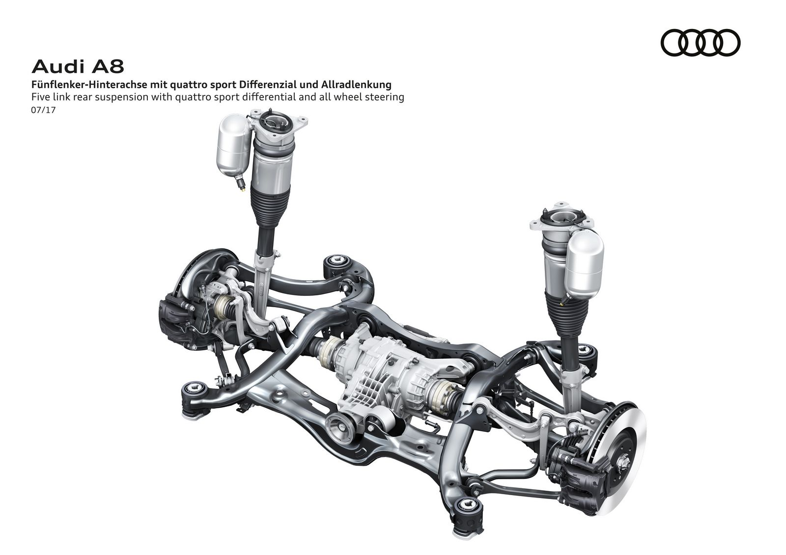 Five link rear suspension with quattro sport differential and all wheel steering