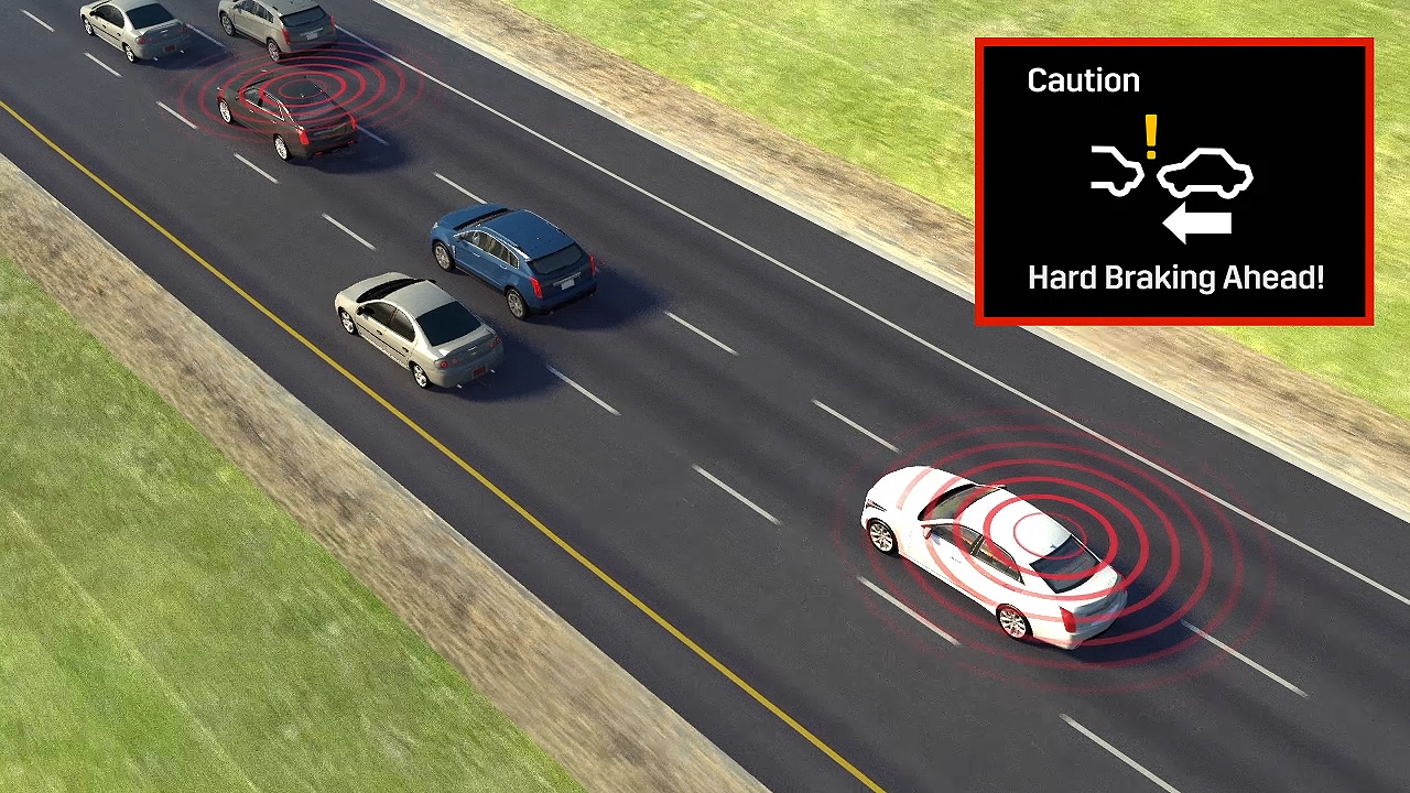 "When a V2V-equipped vehicle ahead is detected to be braking hard, 2017 Cadillac CTS drivers will get a ""Hard Braking Ahead"" alert, giving them extra time to react."