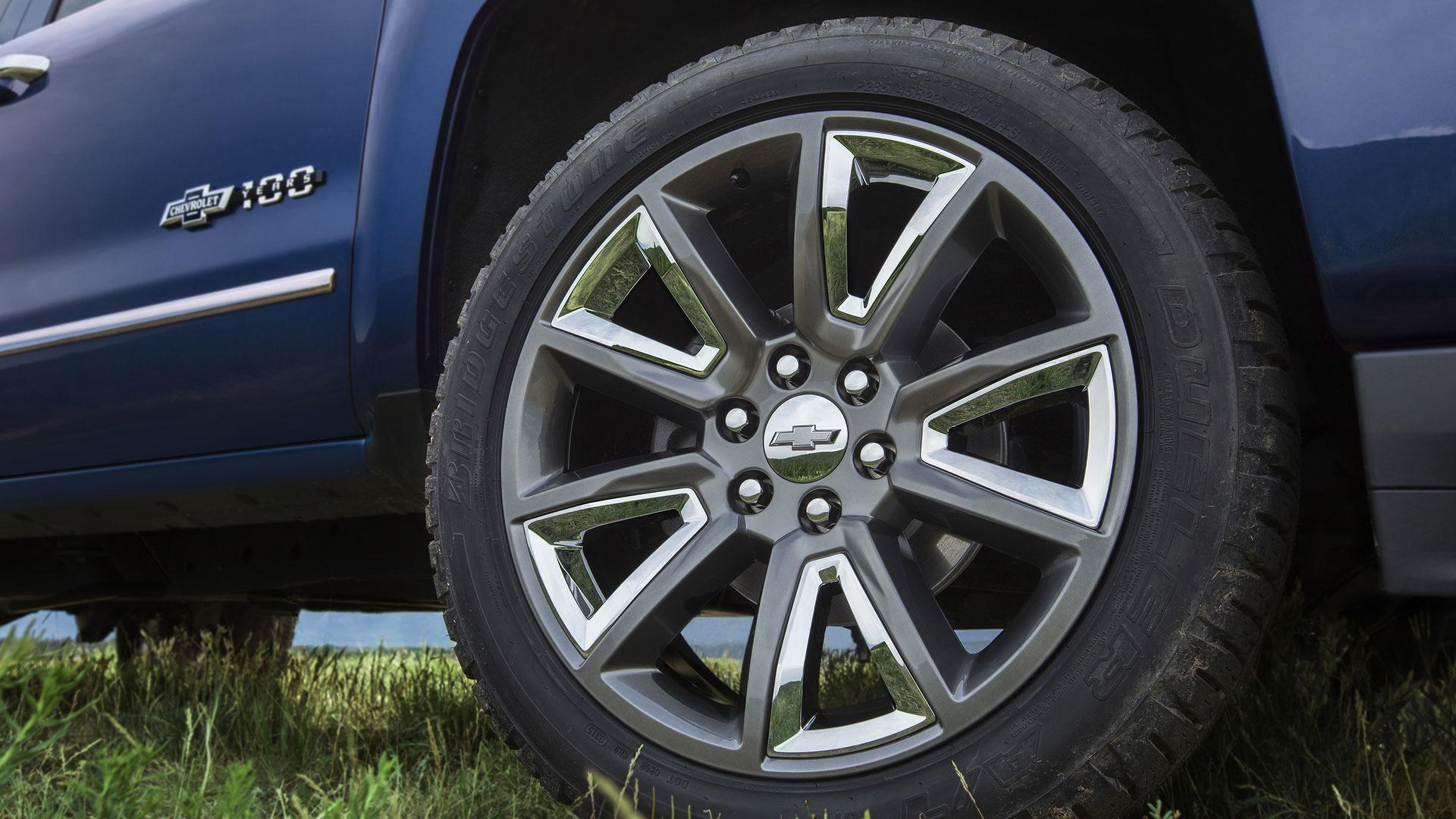 "2018 Centennial Edition Silverado includes 22"" all-terrains tires with painted wheels and chrome inserts."