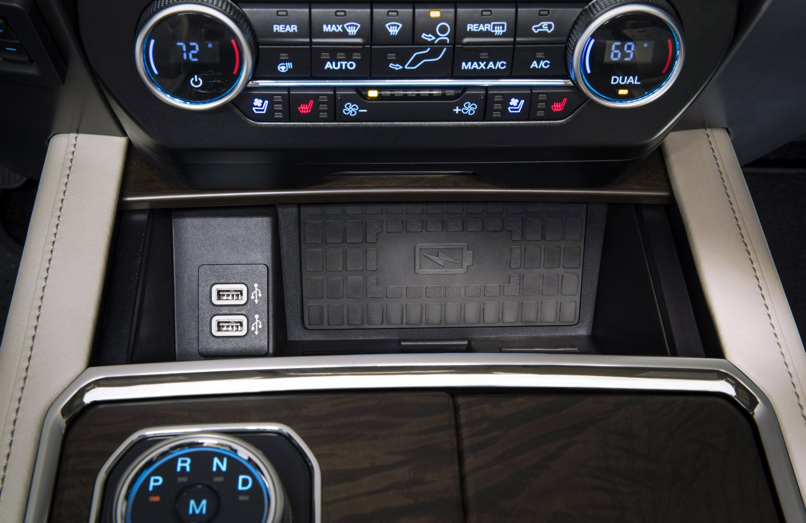 A storage bin below the center stack is equipped with two USB ports and an available wireless charging pad that lets all-new Ford Expedition customers charge their compatible mobile device without the hassle of cords.