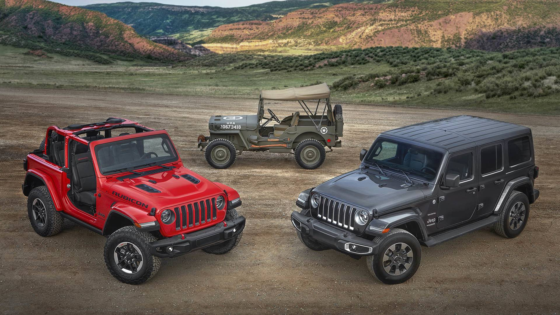 All-new 2018 Jeep® Wrangler Rubicon, 1944 Jeep Willys-Overland MB and all-new 2018 Jeep Wrangler Sahara