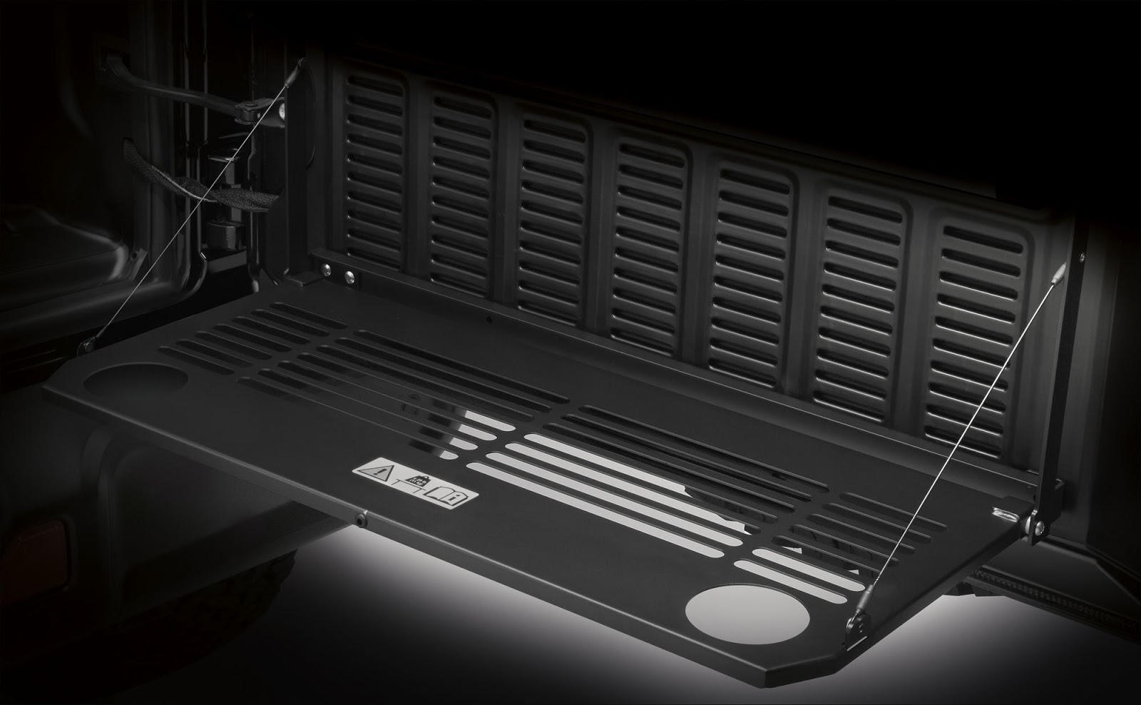 A first from Mopar for the Jeep® Wrangler is a tailgate table that flips out to create utility space and folds up for storage.