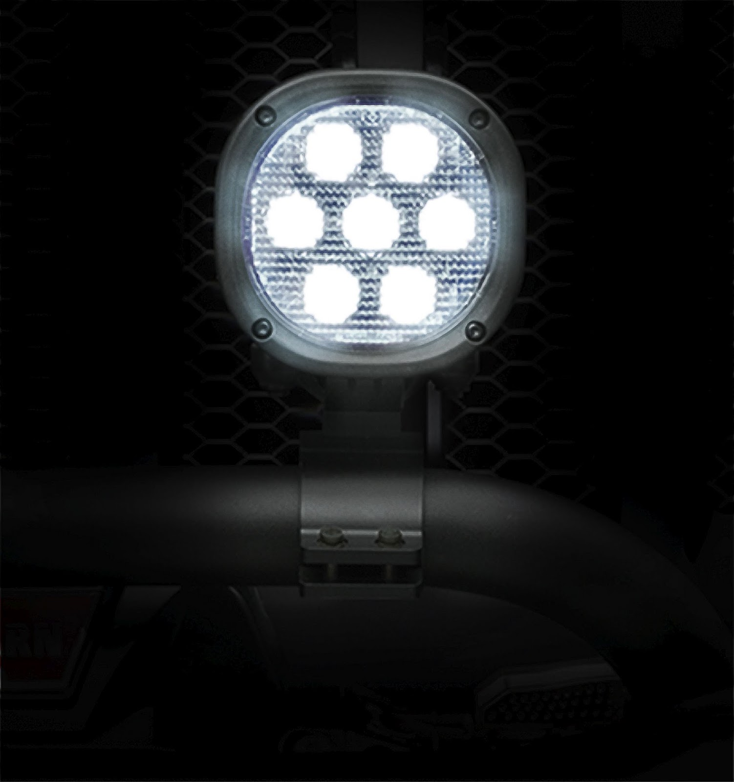 New Jeep® Performance Parts LED off-road lights, available in 5- and 7-inch (pictured) applications, produce a maximum of 8,000 lumens, putting commercial and military grade illumination into the hands of hard core off-roaders.