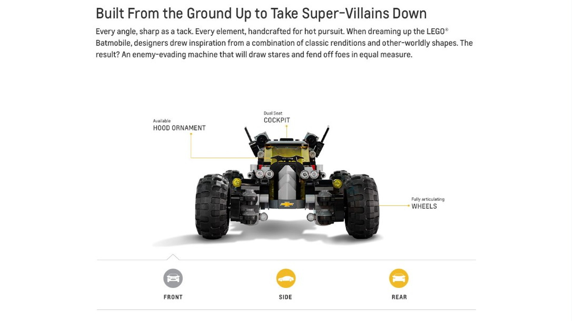 The all-new LEGO® Batmobile from Chevrolet. Learn more at Chevy