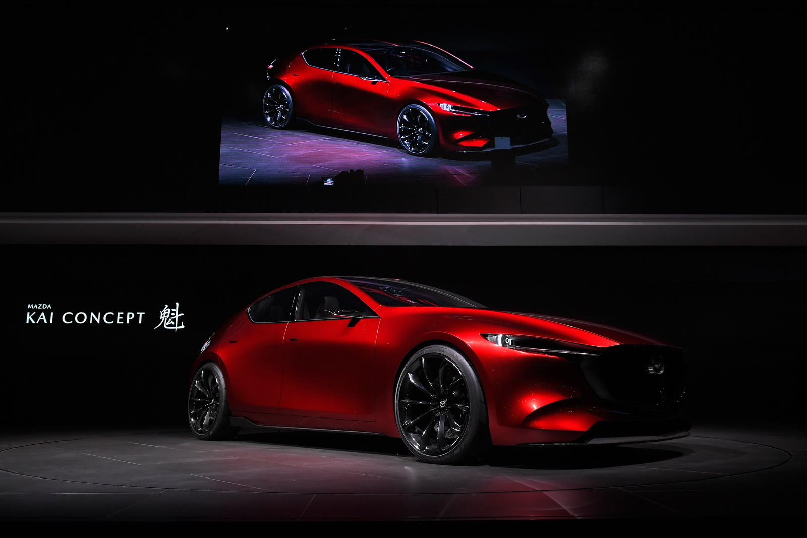 TOKYO, JAPAN - OCTOBER 25:  Mazda Kai Concept is unveiled by Mazda Motor Co CEO Masamichi Kogai at the Mazda Motor Co booth during the Tokyo Motor Show at Tokyo Big Sight on October 25, 2017 in Tokyo, Japan.  (Photo by Koki Nagahama/Getty Images for Mazda Motor Co)