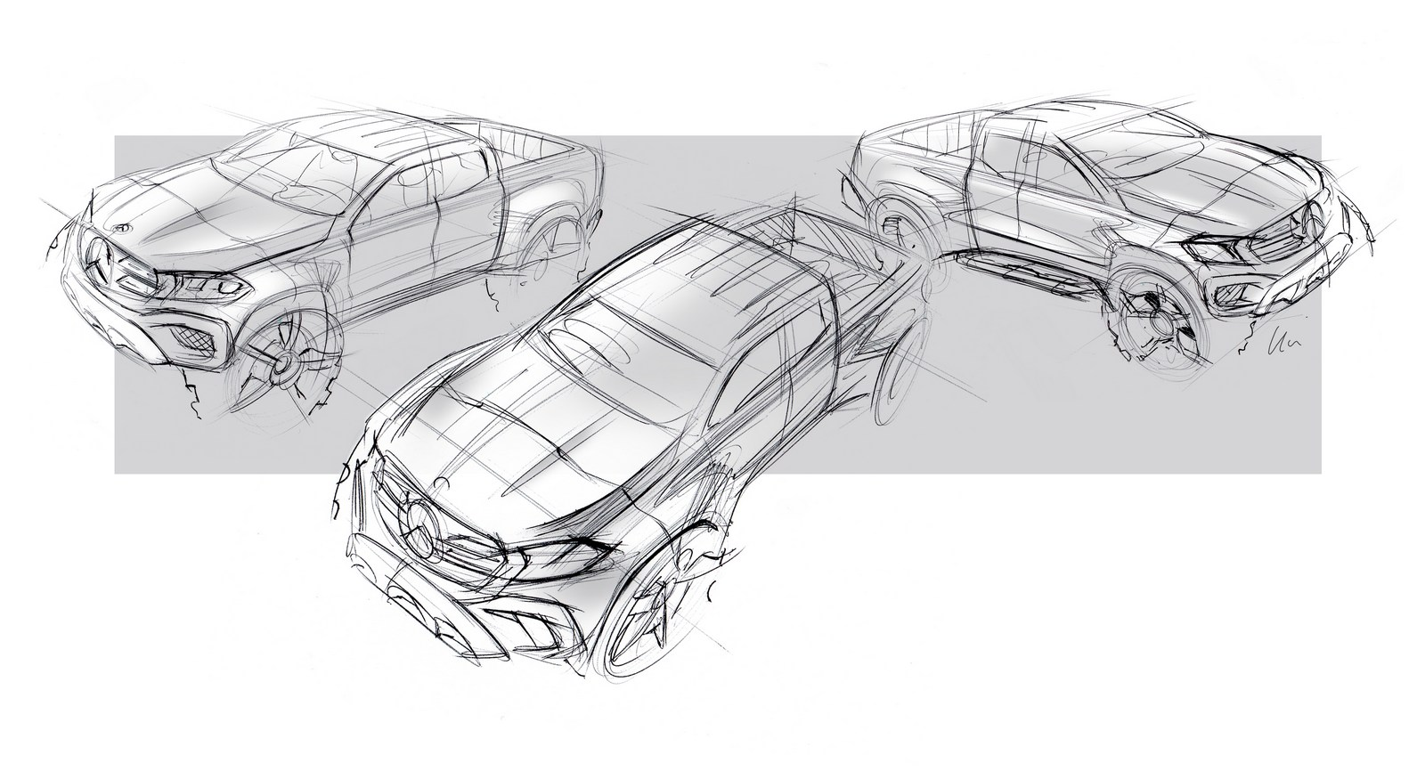 Mercedes-Benz X-Klasse – Designskizze // Mercedes-Benz X-Class – Design sketch