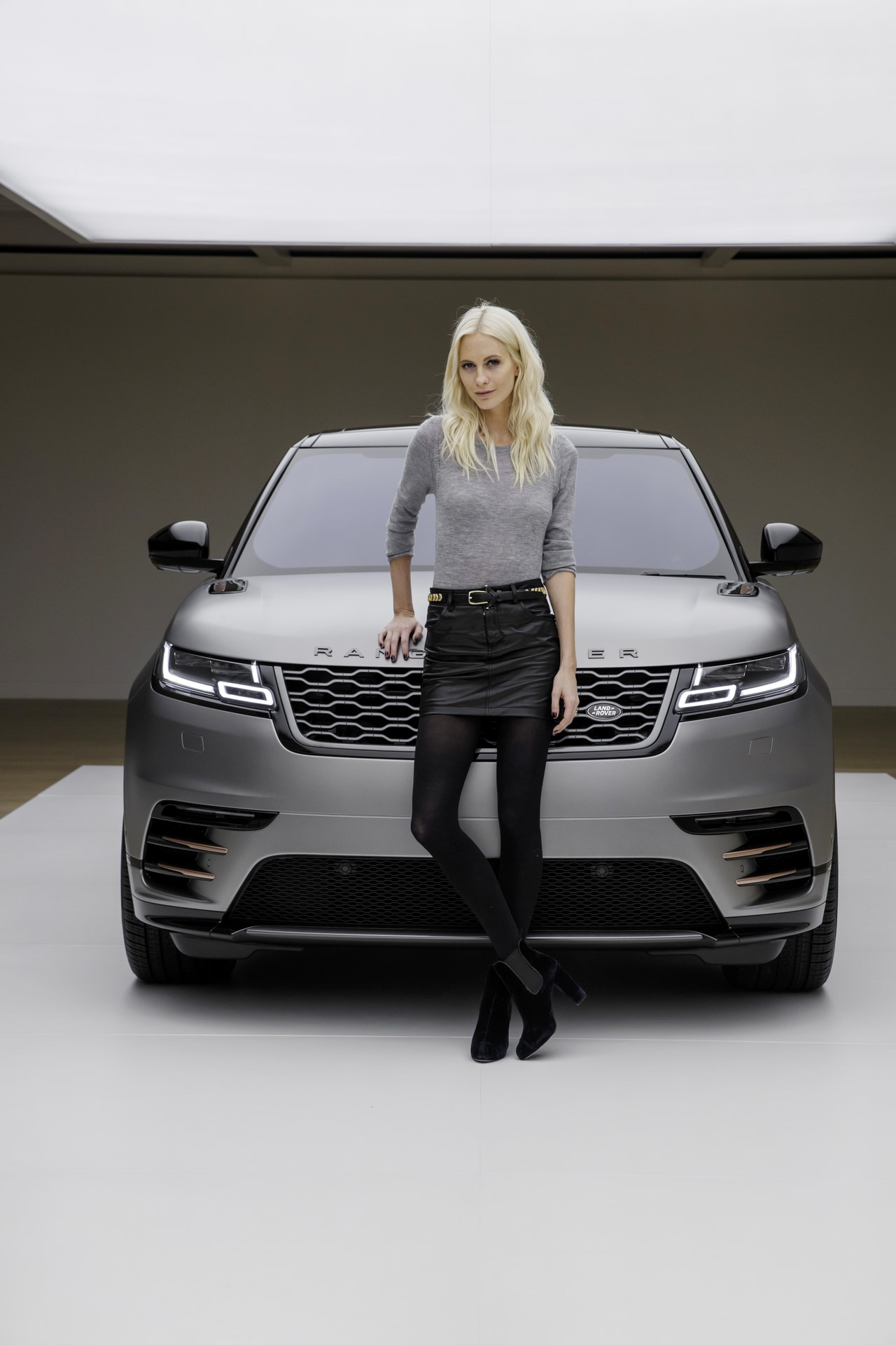 Model and Actress Poppy Delevingne with the Range Rover Velar at its launch at the Design Musuem, London. EMBARGOED UNTIL 20.30 GMT, 1 March 2017
