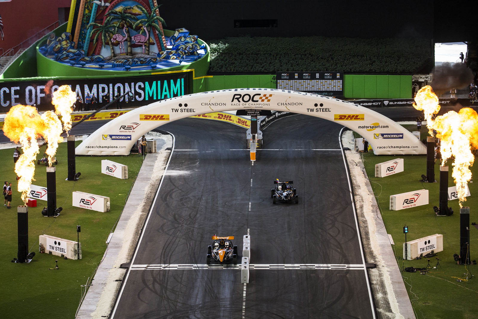 Team Germany Sebastian Vettel (GER) beats Team Colombia Juan-Pablo Montoya (COL) driving the Ariel Atom Cup during the ROC Nations Cup on Sunday 22 January 2017 at Marlins Park, Miami, Florida, USA