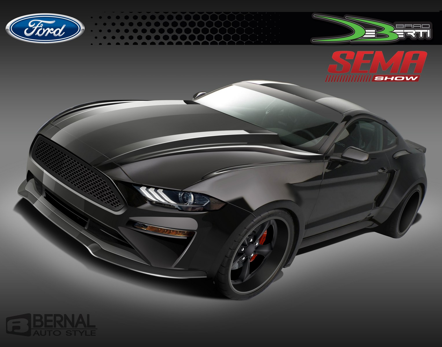This DeBerti Design Mustang was designed by professional racer Brad Deberti, who brings a new level of modern muscle to a 2018 Ford Mustang GT outfitted with a Roush Supercharger. The body was widened to fit Mickey Thompson 18-inch wide rear tires. The hood was specially designed to tie in both old and new muscle. Looking at this Mustang from any direction brings out a feeling of what it would be like to go fast in style.