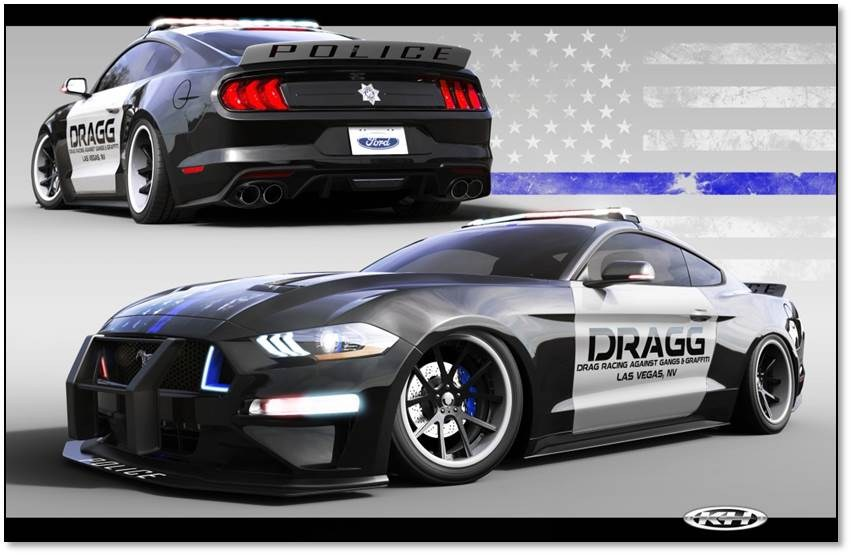 Created by DRAGG – a non-profit youth-oriented automotive after-school program – this 2018 Ford Mustang EcoBoost is a philanthropic speedster. DRAGG – Drag Racing Against Gangs and Graffiti – created a uniquely custom Guardian-themed police vehicle with this 2018 Ford Mustang EcoBoost, taking an ordinary street vehicle to an extraordinary one-of-a-kind, ecofriendly, custom-service vehicle with a global purpose.  The Guardian Mustang symbolizes the commitment of the police to the communities they serve.