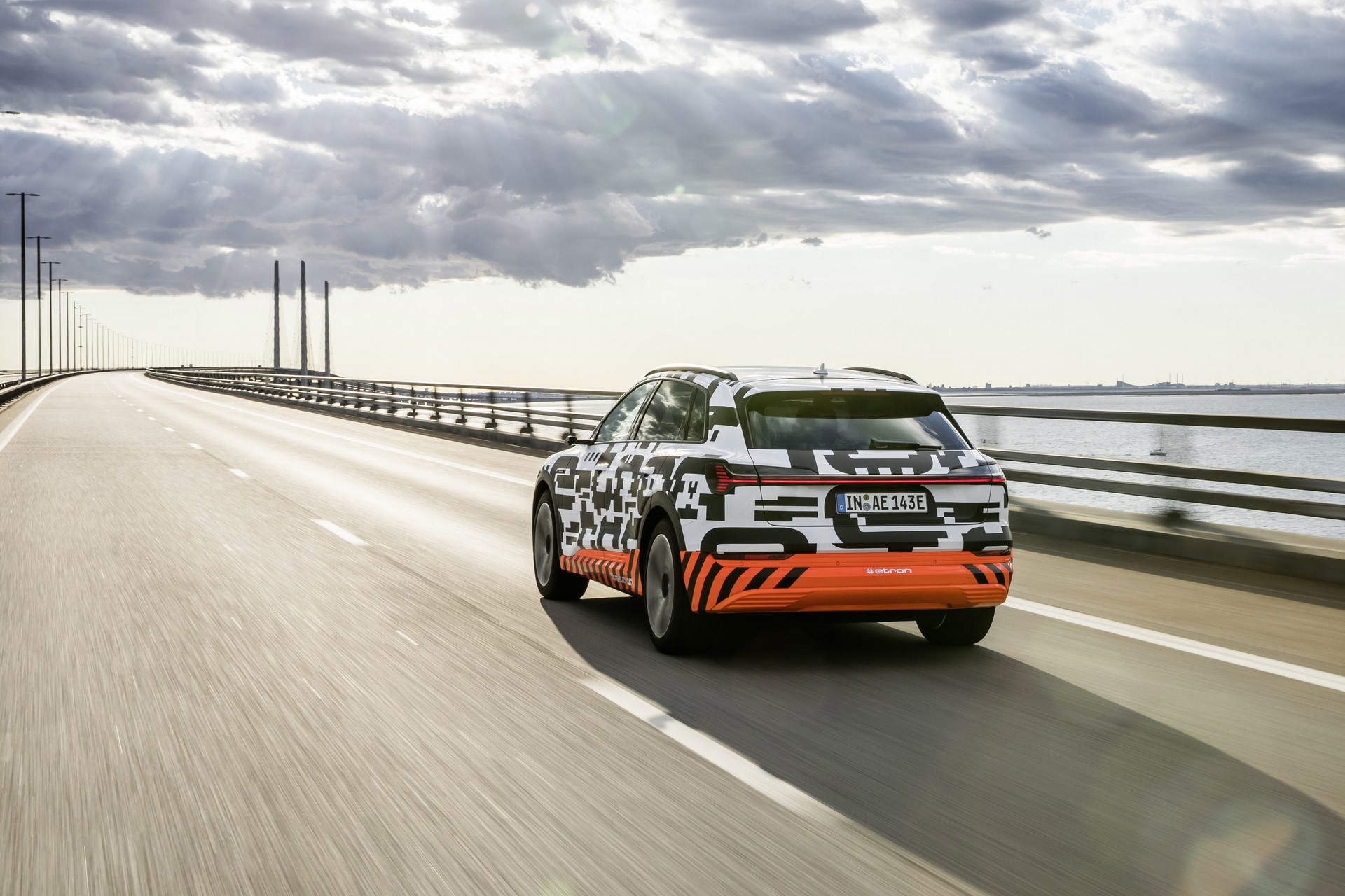 The Audi e-tron prototype on the Öresund Bridge