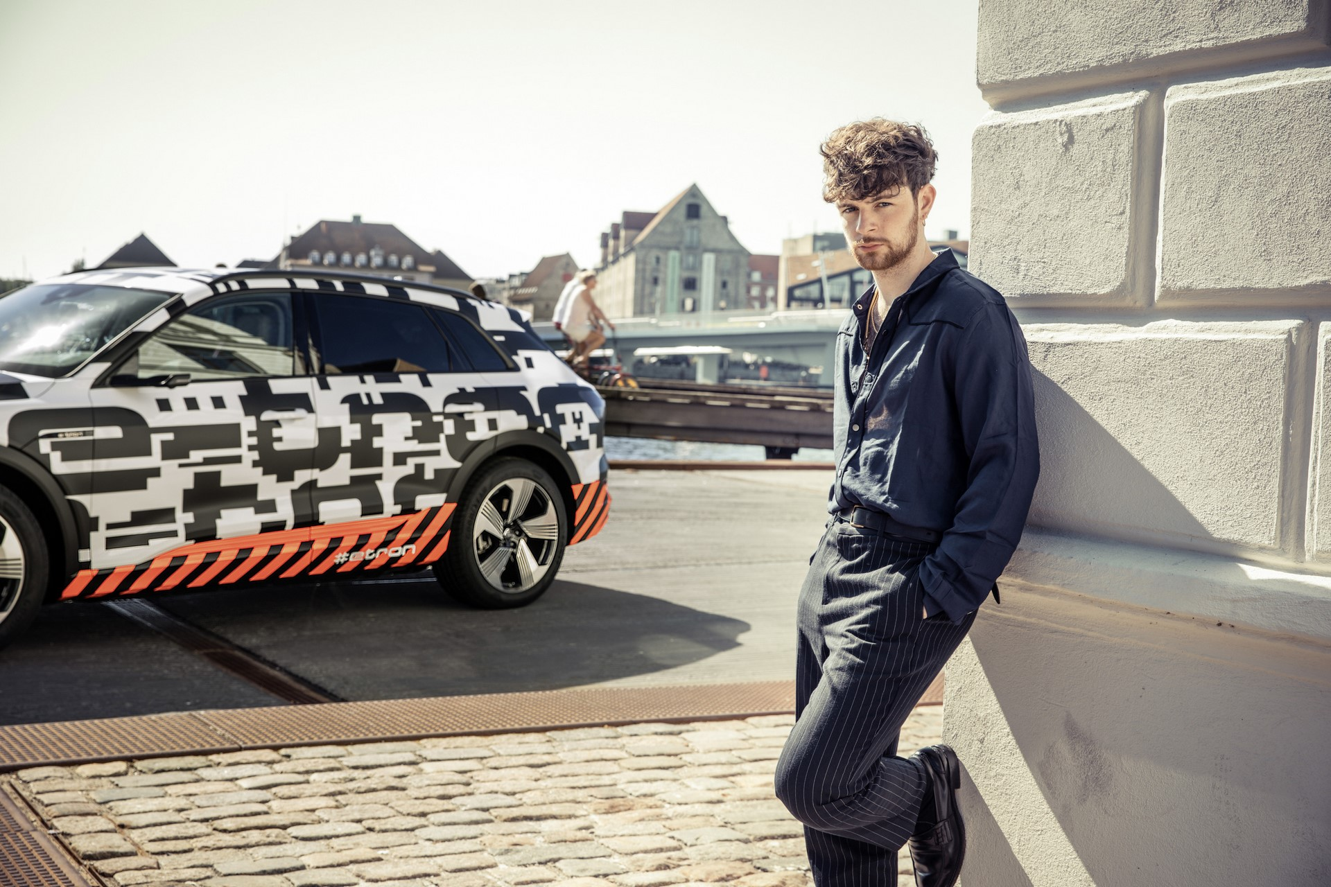 Tom Grennan, singer and songwriter, with the Audi e-tron prototype