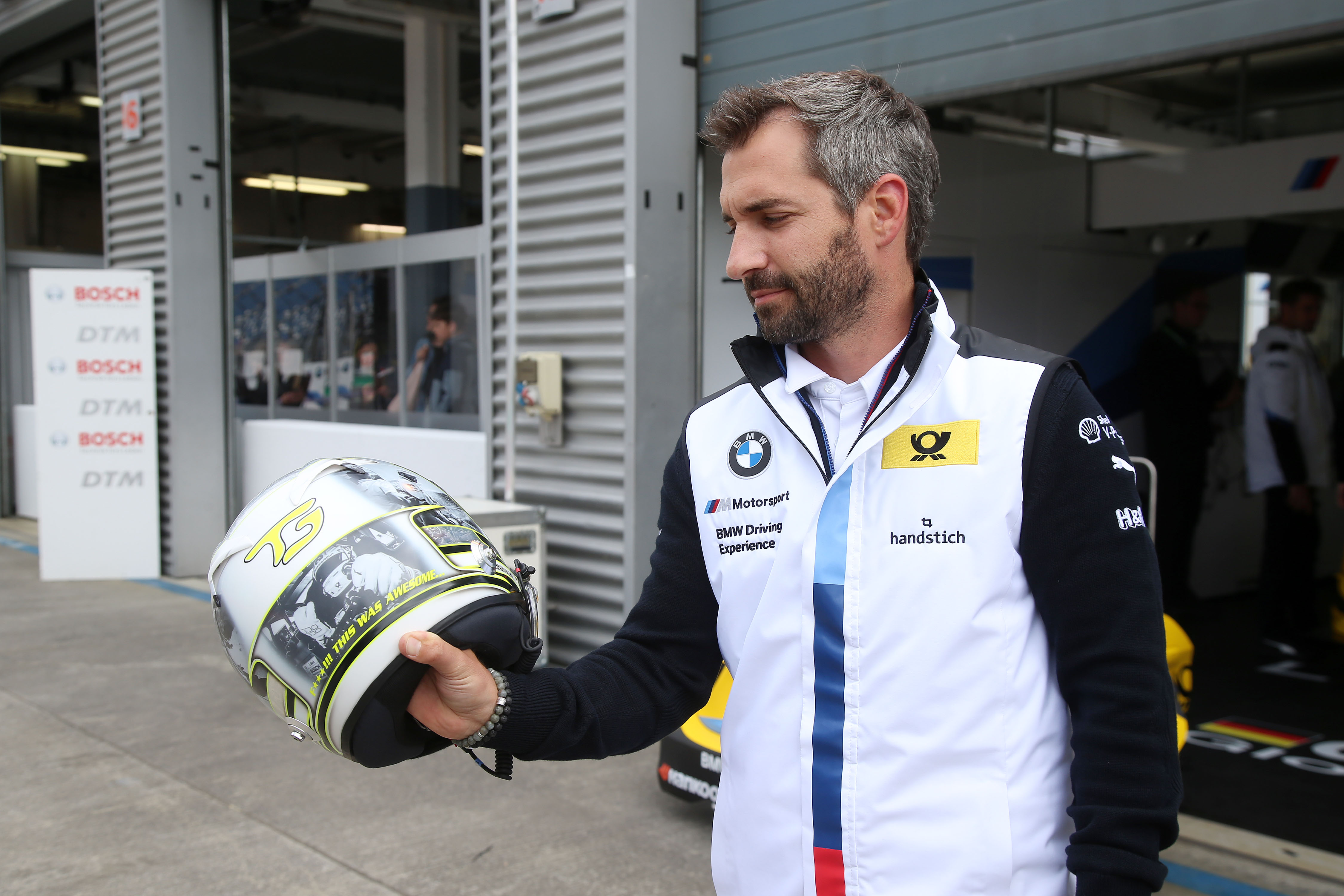 "Lausitzring (GER) 18th May 2018. BMW Motorsport, Timo Glock (GER) with special edition helmet ""Hockenheim 2018"" for charity."