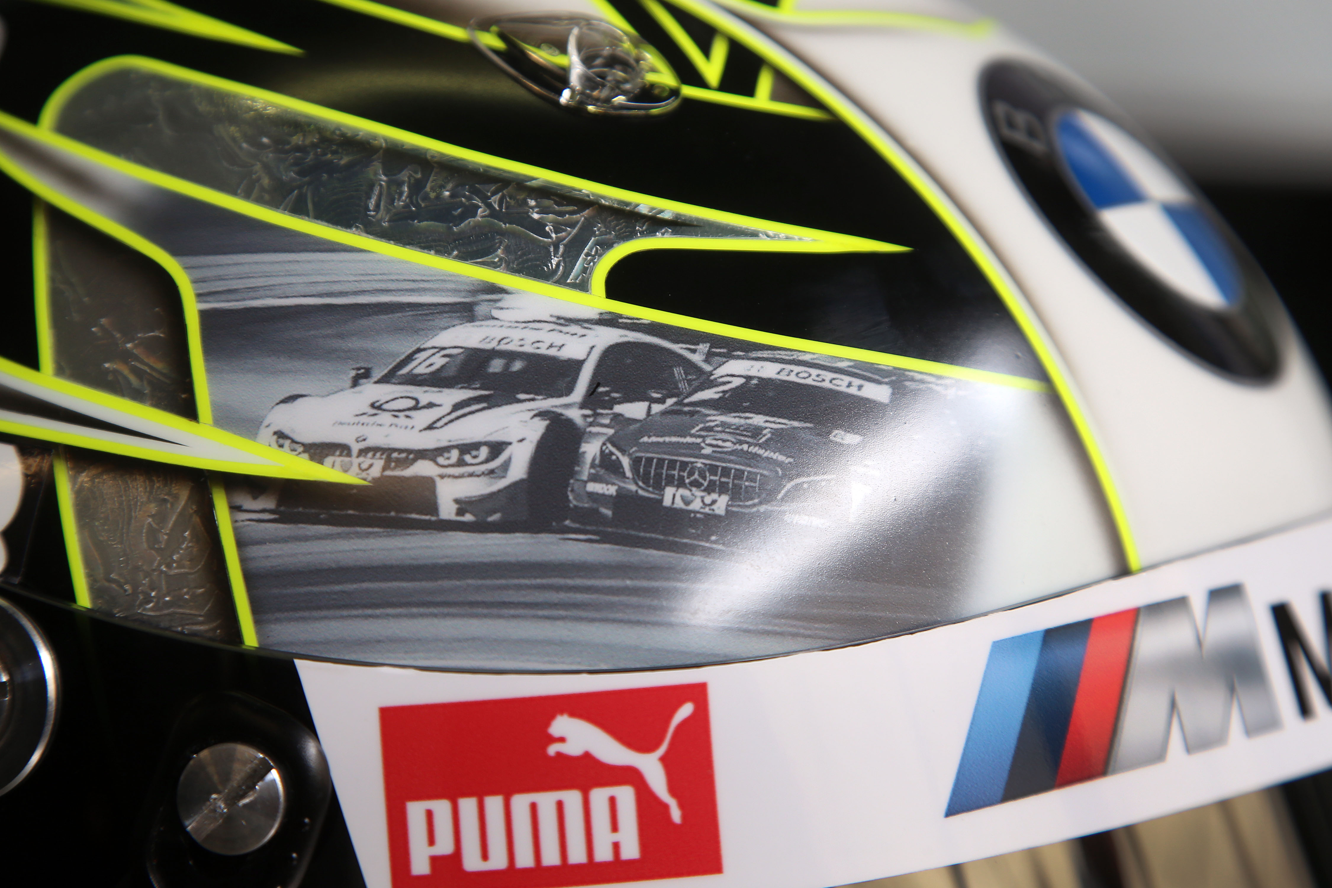 "Lausitzring (GER) 18th May 2018. BMW Motorsport, Timo Glock special edition helmet ""Hockenheim 2018"" for charity."