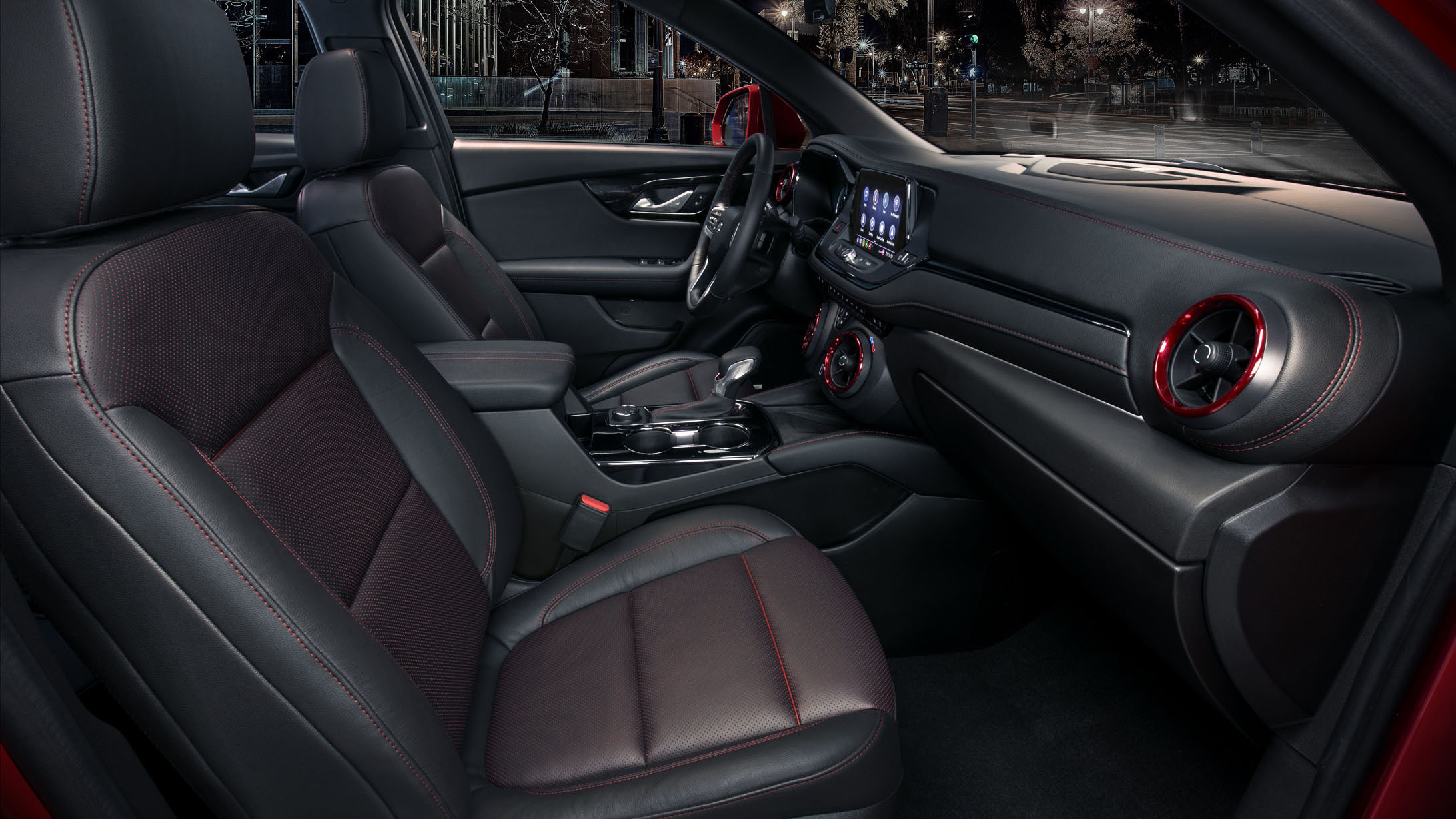 The 2019 Chevrolet Blazer RS interior features a driver-centric interior along with red accents and trim.