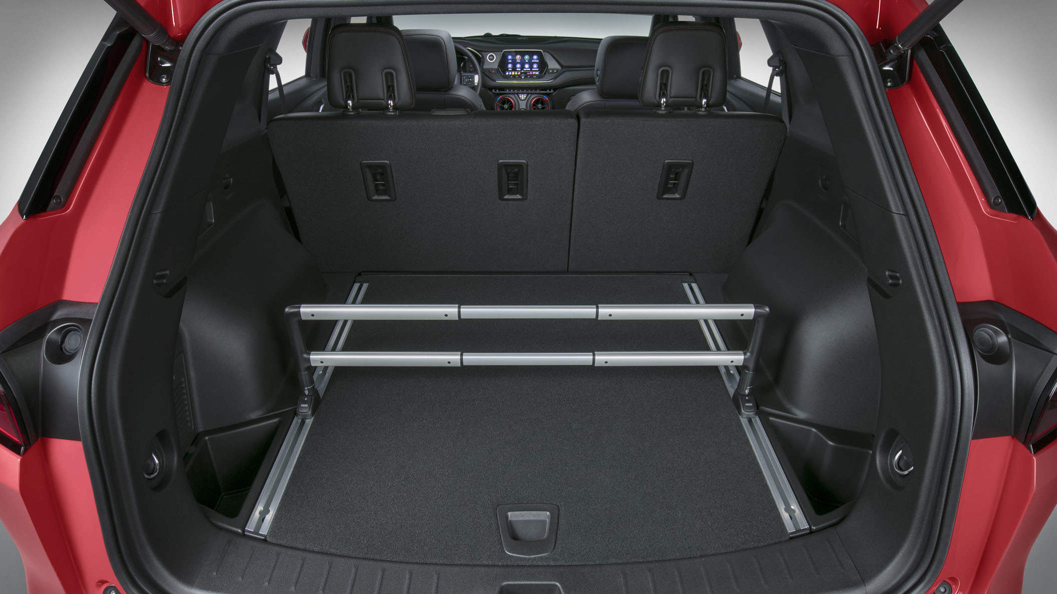 The 2019 Chevrolet Blazer offers a Chevrolet-first Cargo Management System which helps drivers secure smaller items by dividing the cargo area.