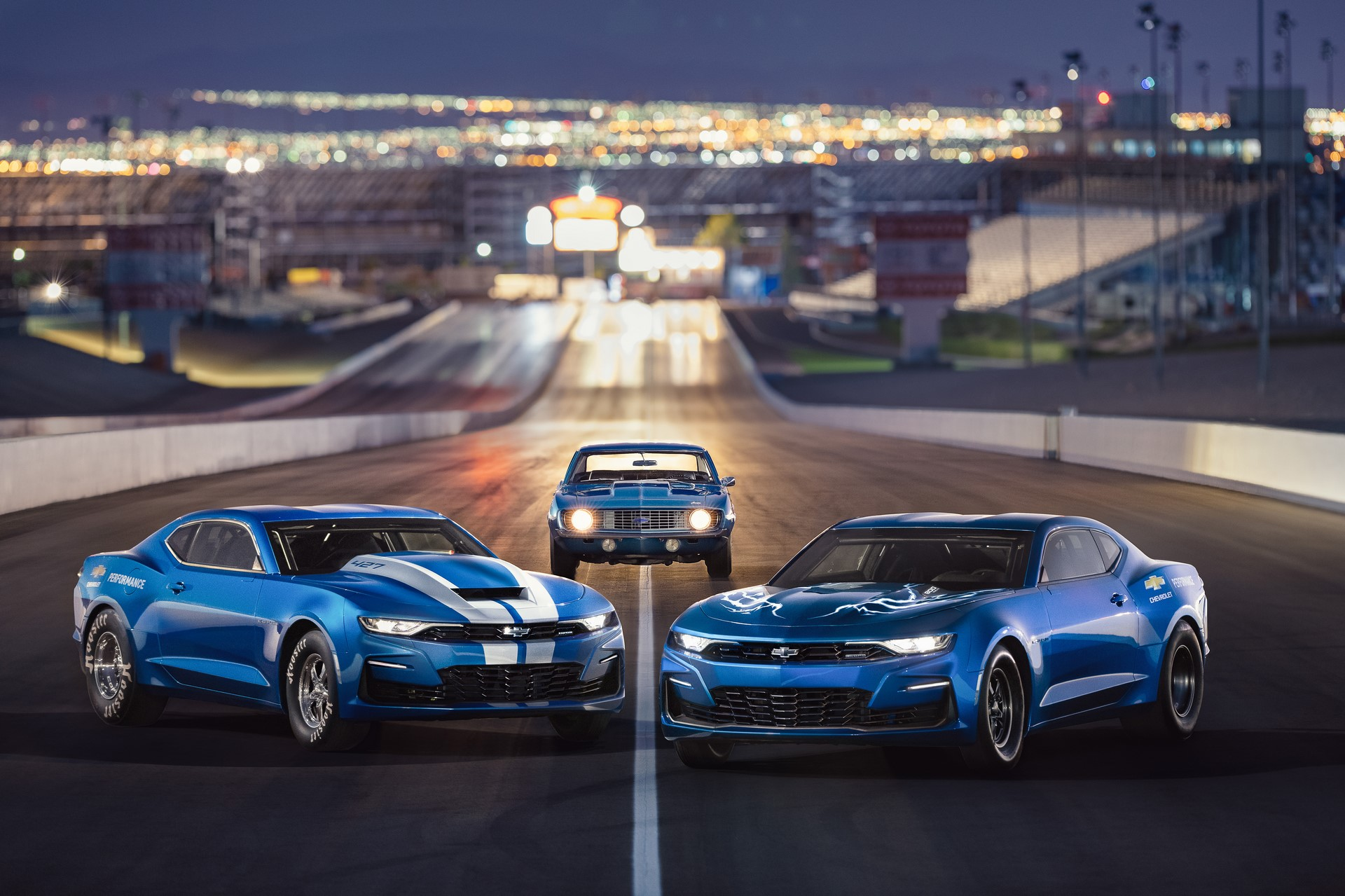 Chevrolet celebrates the 50th anniversary of the COPO Camaro at the 2018 SEMA Show, with the 2019 COPO Camaro race car, a vintage 1969 COPO Camaro and the electrified eCOPO Concept.