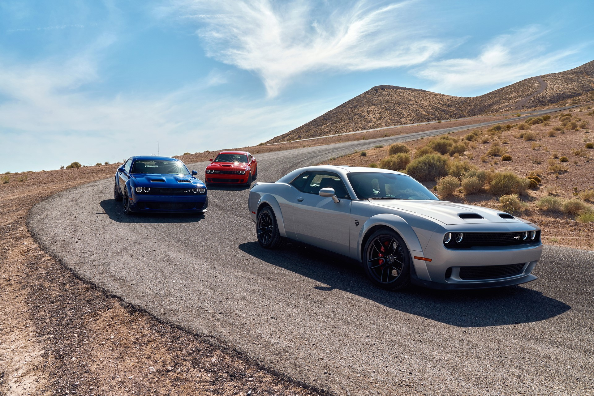 2019 Dodge Challenger Lineup: SRT Hellcat Redeye Widebody, SRT Hellcat Widebody, R/T Scat Pack Widebody (from front to back)