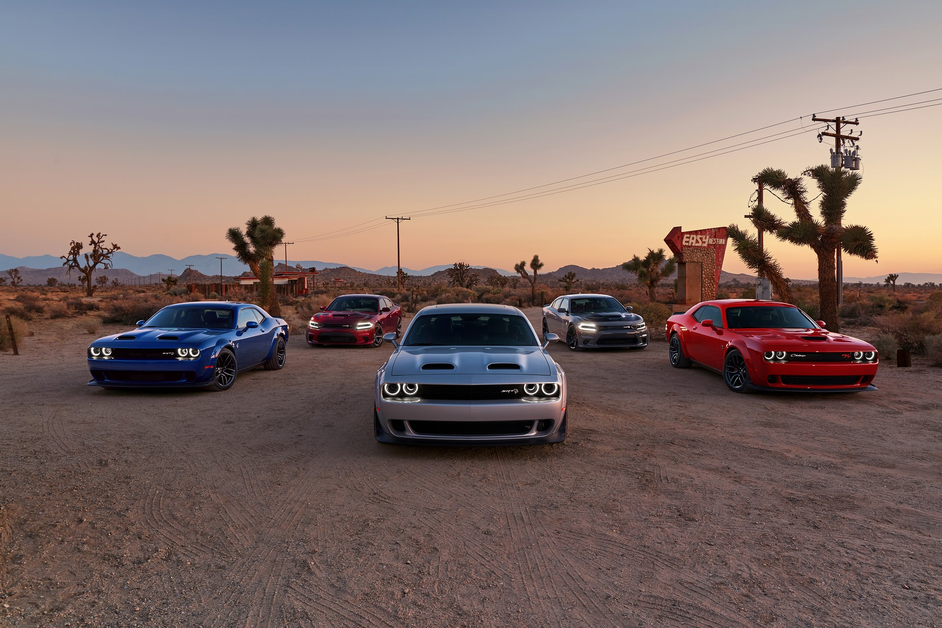 2019 Dodge Challenger SRT Hellcat Widebody, Charger SRT Hellcat, Challenger SRT Hellcat Redeye Widebody, Charger SRT Hellcat, Challenger R/T Scat Pack Widebody (From left to right)