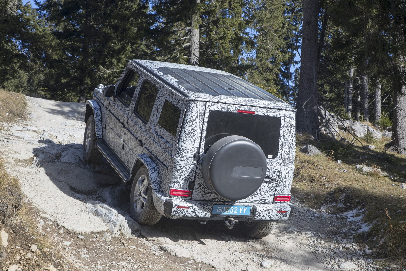 The new G-Class undergoing testing on the Schöckl, a 1,445 meter high mountain near the Austrian city of Graz