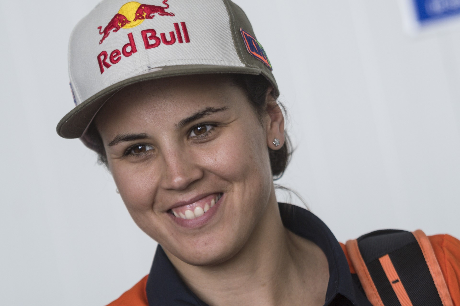 Laia Sanz (ESP) of KTM Factory Team is seen at the technical verifications prior Rally Dakar 2018 in Lima, Peru on January 5, 2018