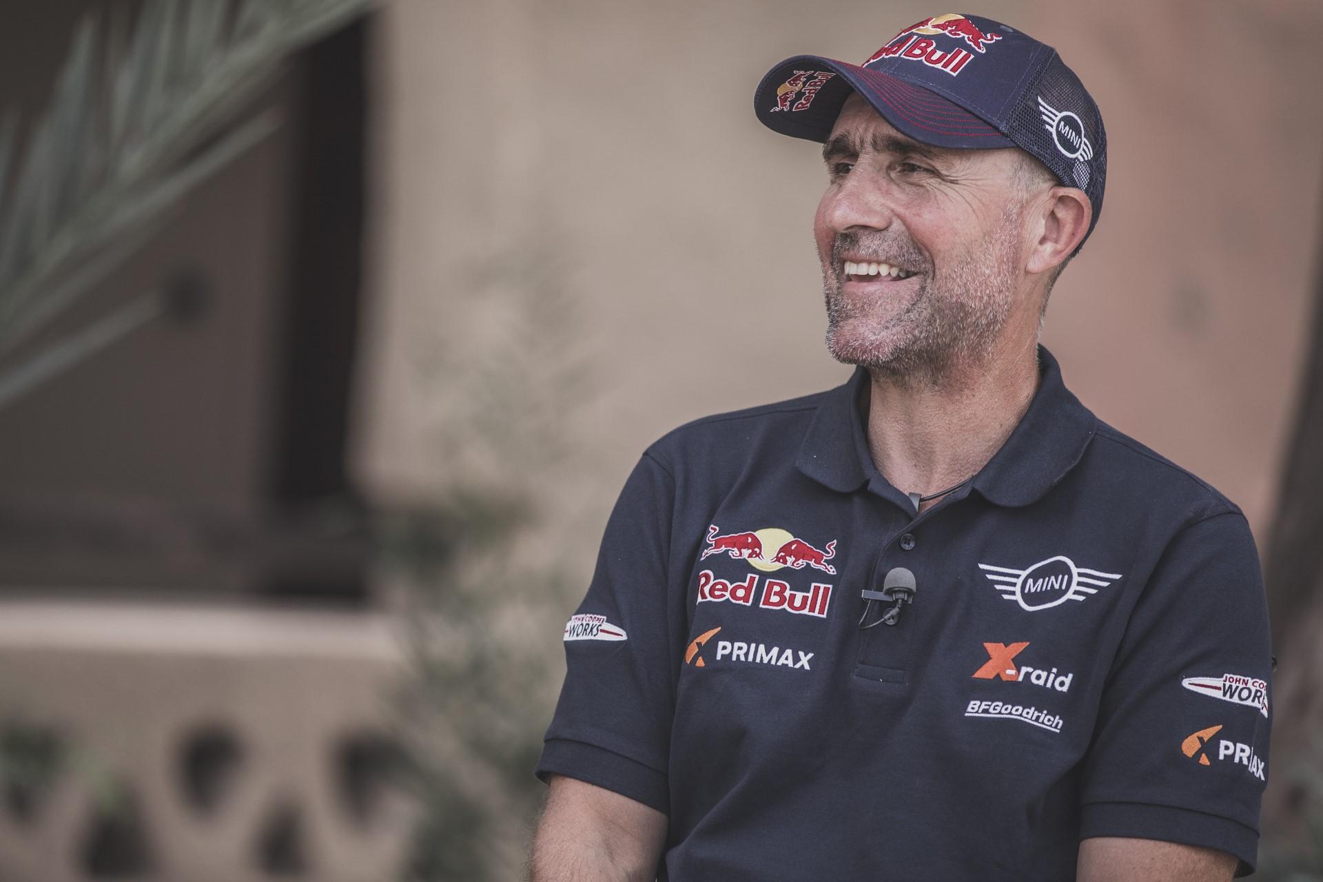 Stephane Peterhansel (FRA) gives an interview in Erfoud , Morocco on September 24, 2018