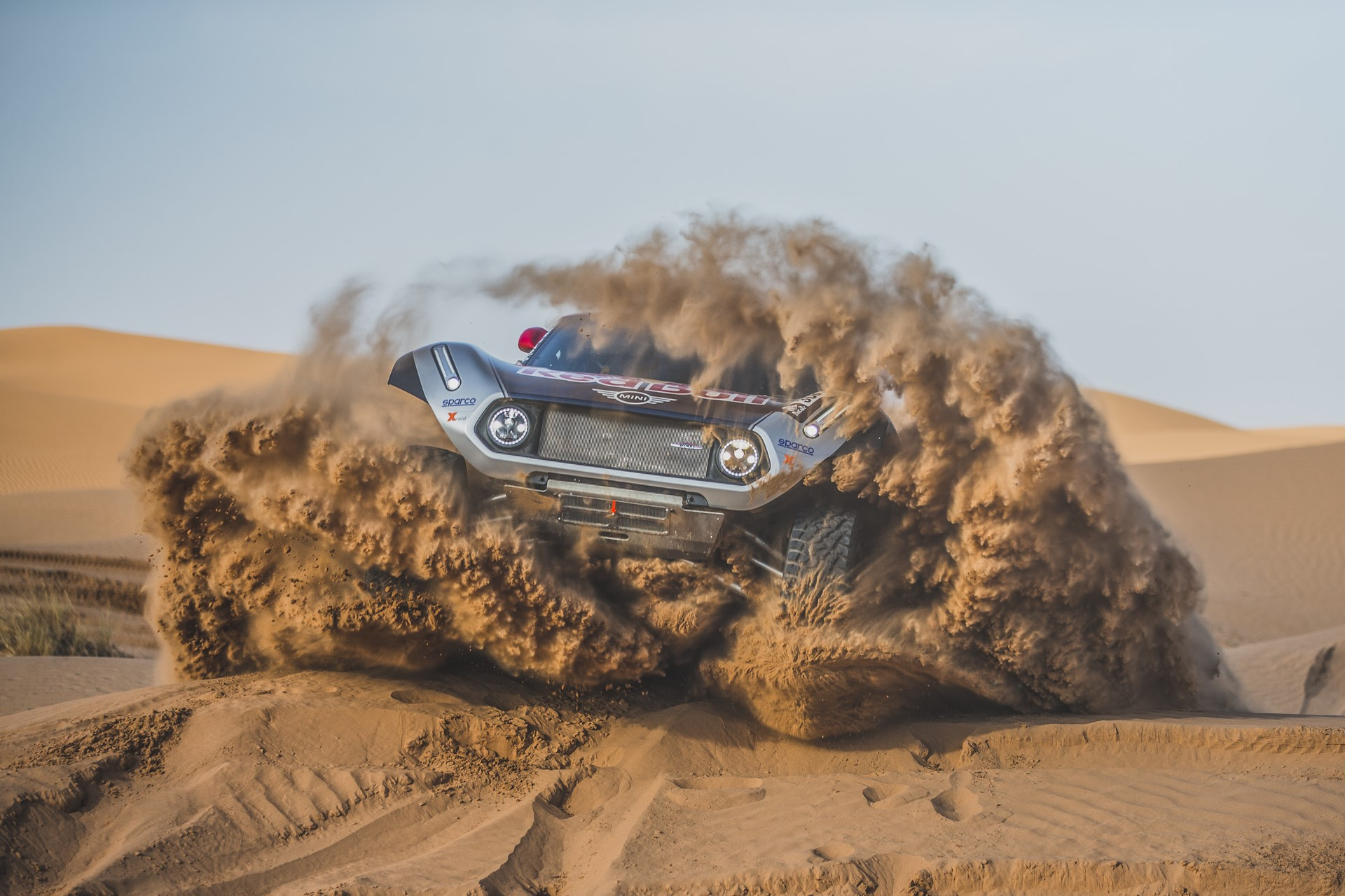 Cyril Despres (FRA) performs aboard the X-raid MINI JCW in Erfoud , Morocco on September 23, 2018