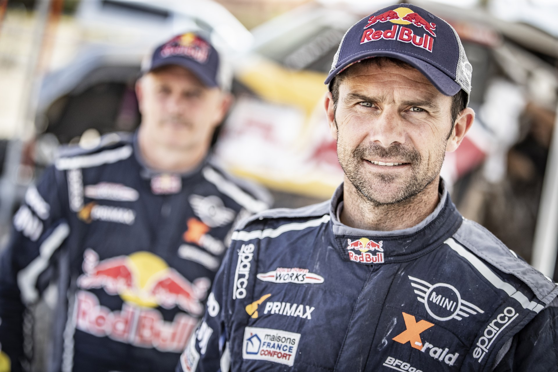 Cyril Despres & Jean-Paul Cottret poses for portrait, Rally Du Maroc in Erfoud, Morocco on October 08, 2018