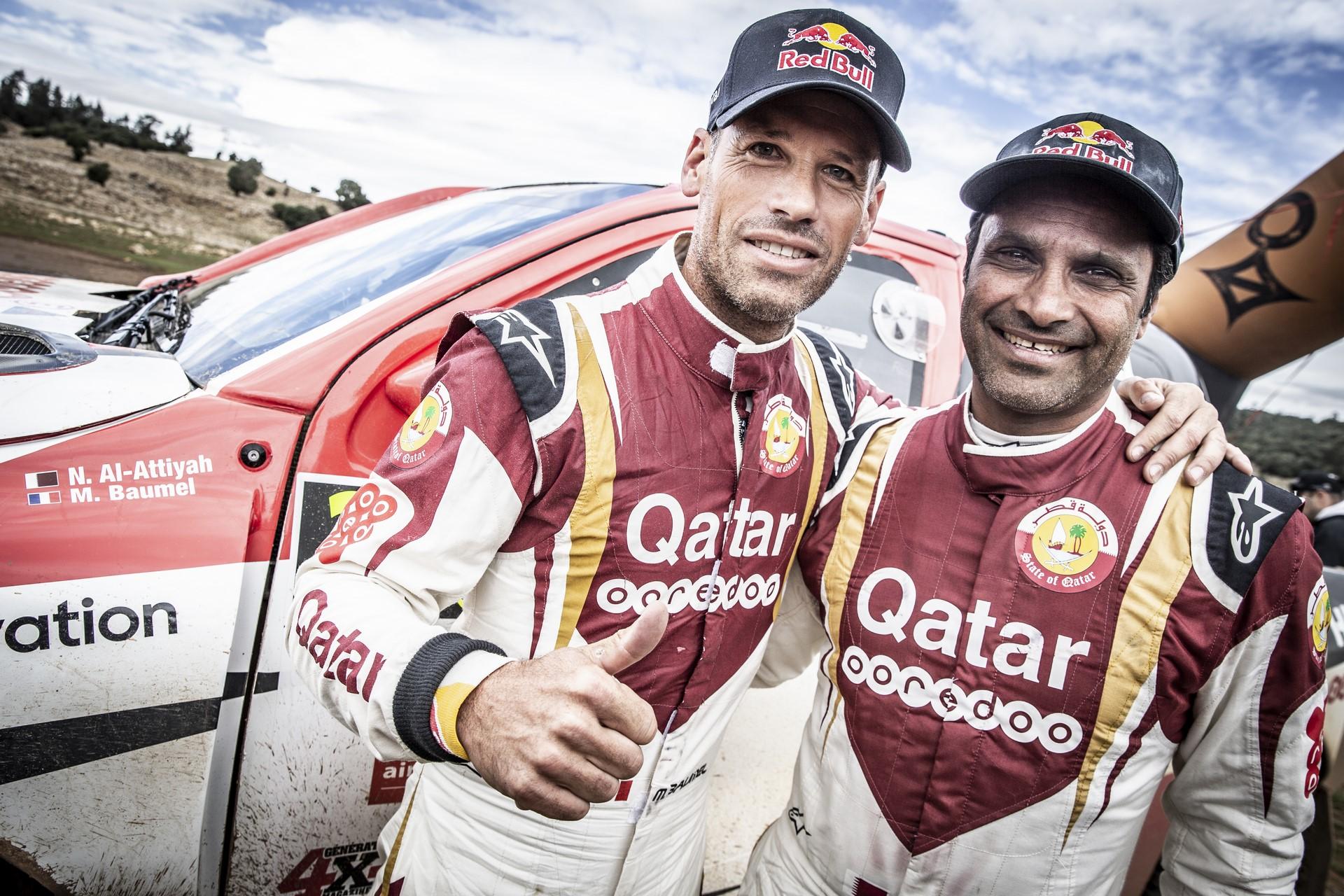 Nasser Al Attiyah & Matthieu Baumel at the finish line of Rally Du Maroc in Ifran, Morocco on October 09, 2018