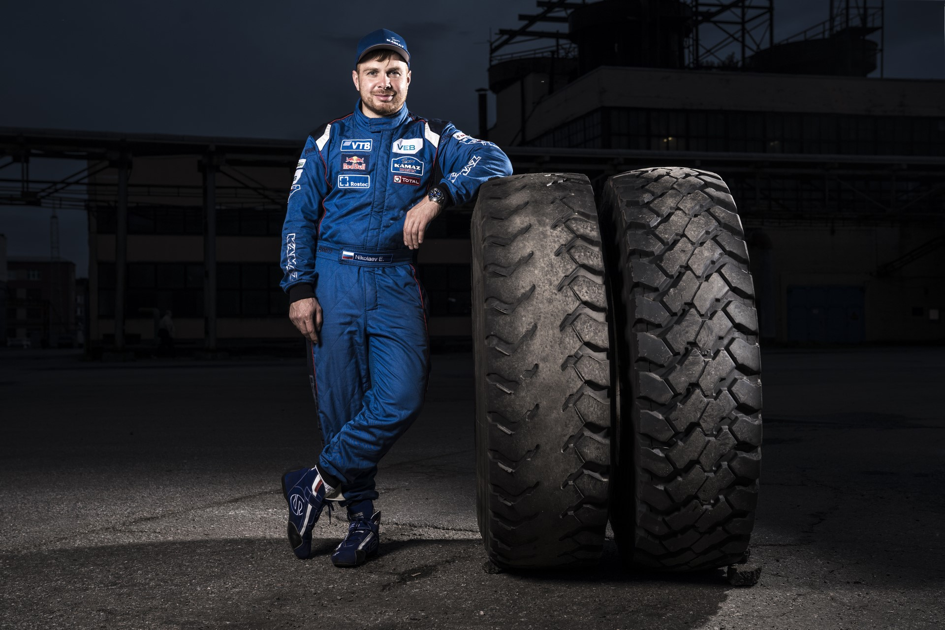 Eduard Nikolaev of the KAMAZ Master team poses for a portrait at the Red Bull Drifting Beast in Saint-Petersburg, Russia on September 15th, 2018.