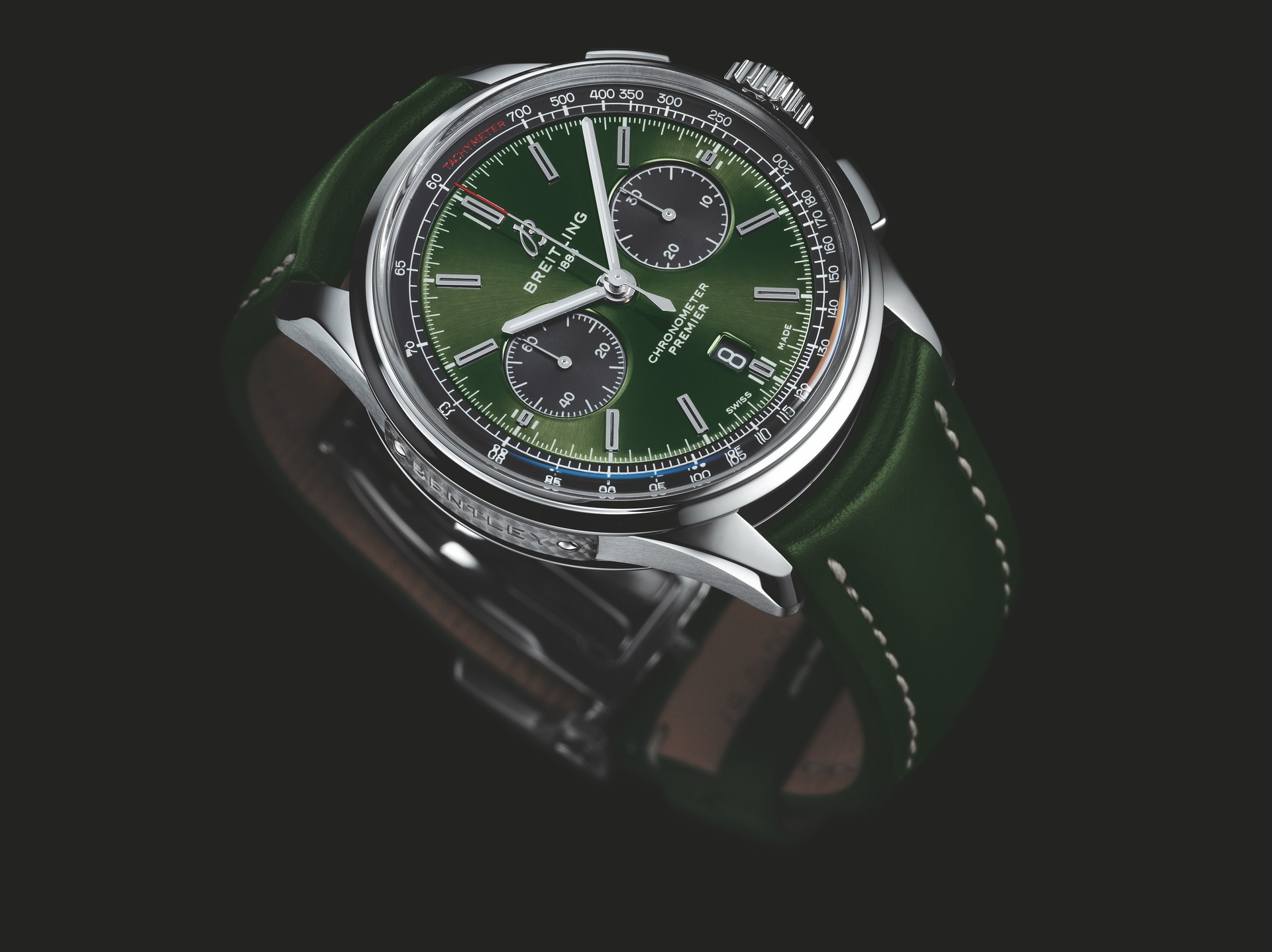 Premier B01 Chronograph 42 Bentley British Racing Green with a British racing green leather strap