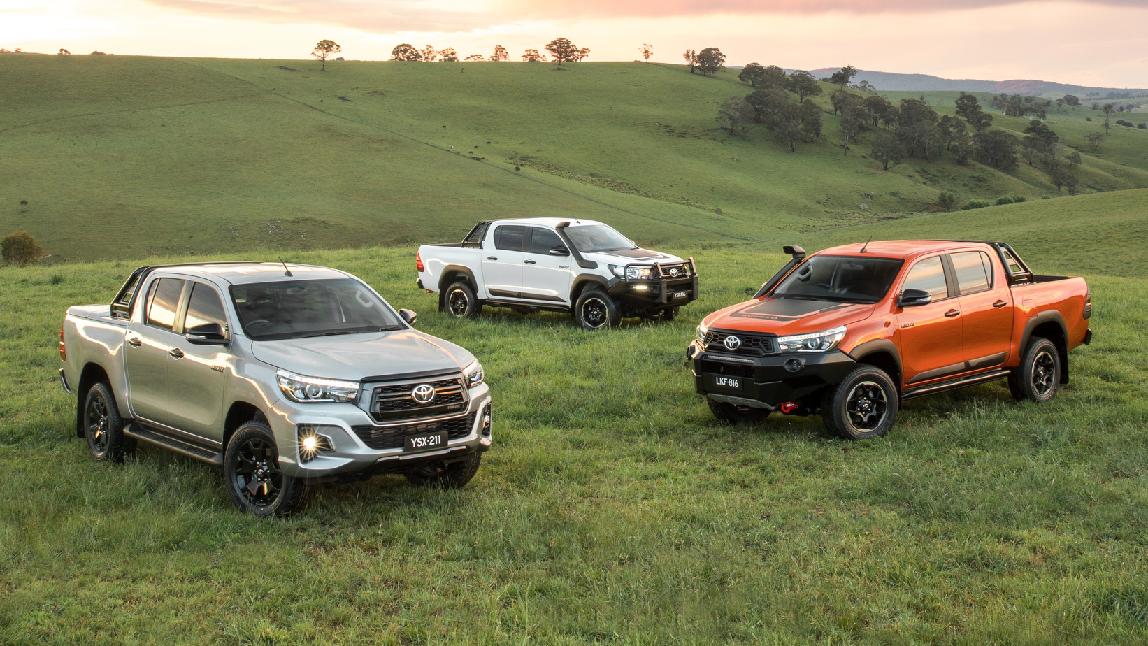 L-R Toyota HiLux Rogue, Rugged, Rugged X