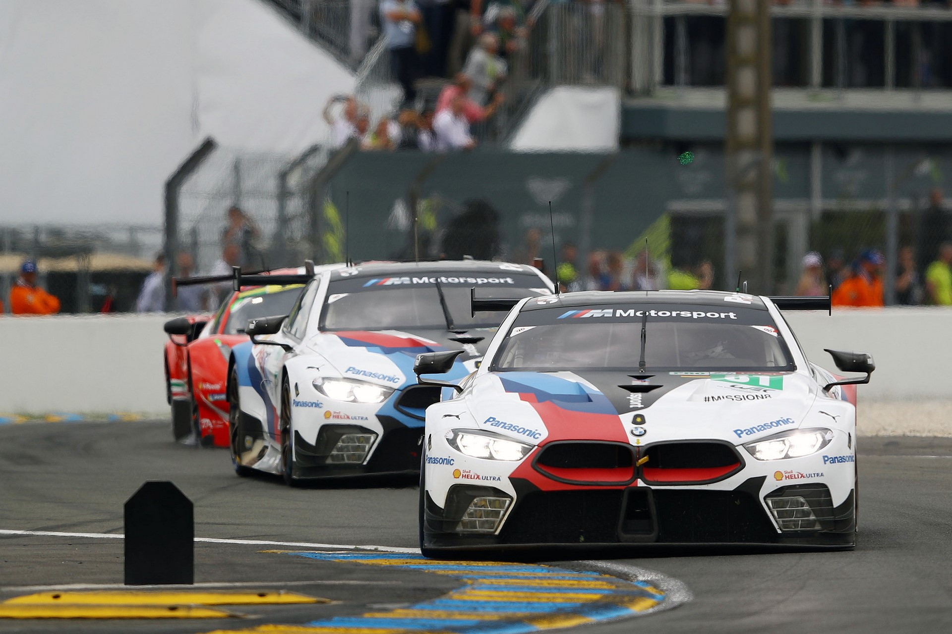 Le Mans (FRA), 16th June 2018. BMW M Motorsport, FIA World Endurance Championship (WEC), 24 Hours of Le Mans, #81 BMW M8 GTE, Martin Tomczyk (GER), Philipp Eng (AUT), Nick Catsburg (NED) and #82 BMW M8 GTE, António Félix da Costa (POR), Alexander Sims (GBR), Augusto Farfus (BRA).