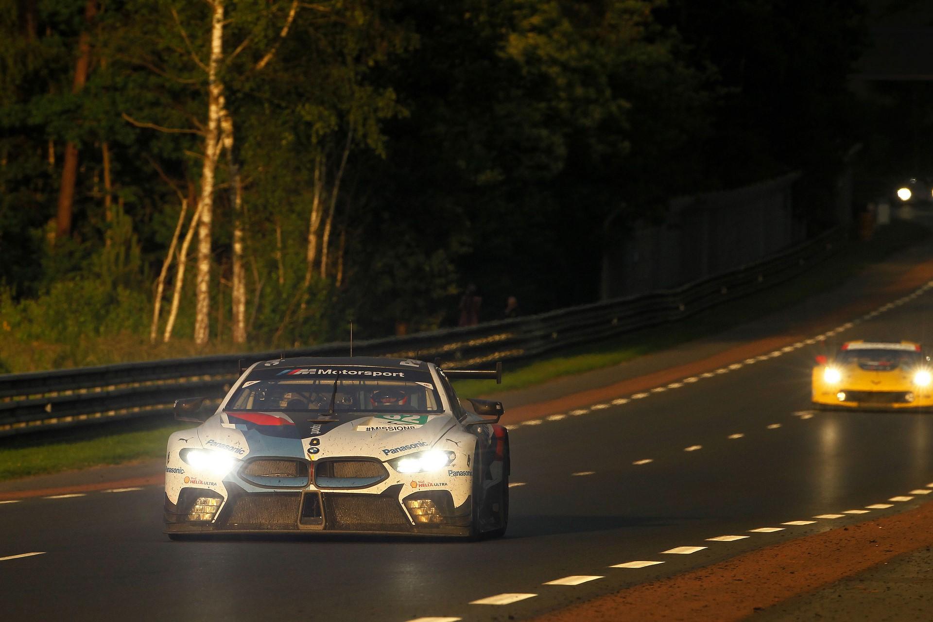 Le Mans (FRA), 16th June 2018. BMW M Motorsport, FIA World Endurance Championship (WEC), 24 Hours of Le Mans, #82 BMW M8 GTE, António Félix da Costa (POR), Alexander Sims (GBR), Augusto Farfus (BRA).