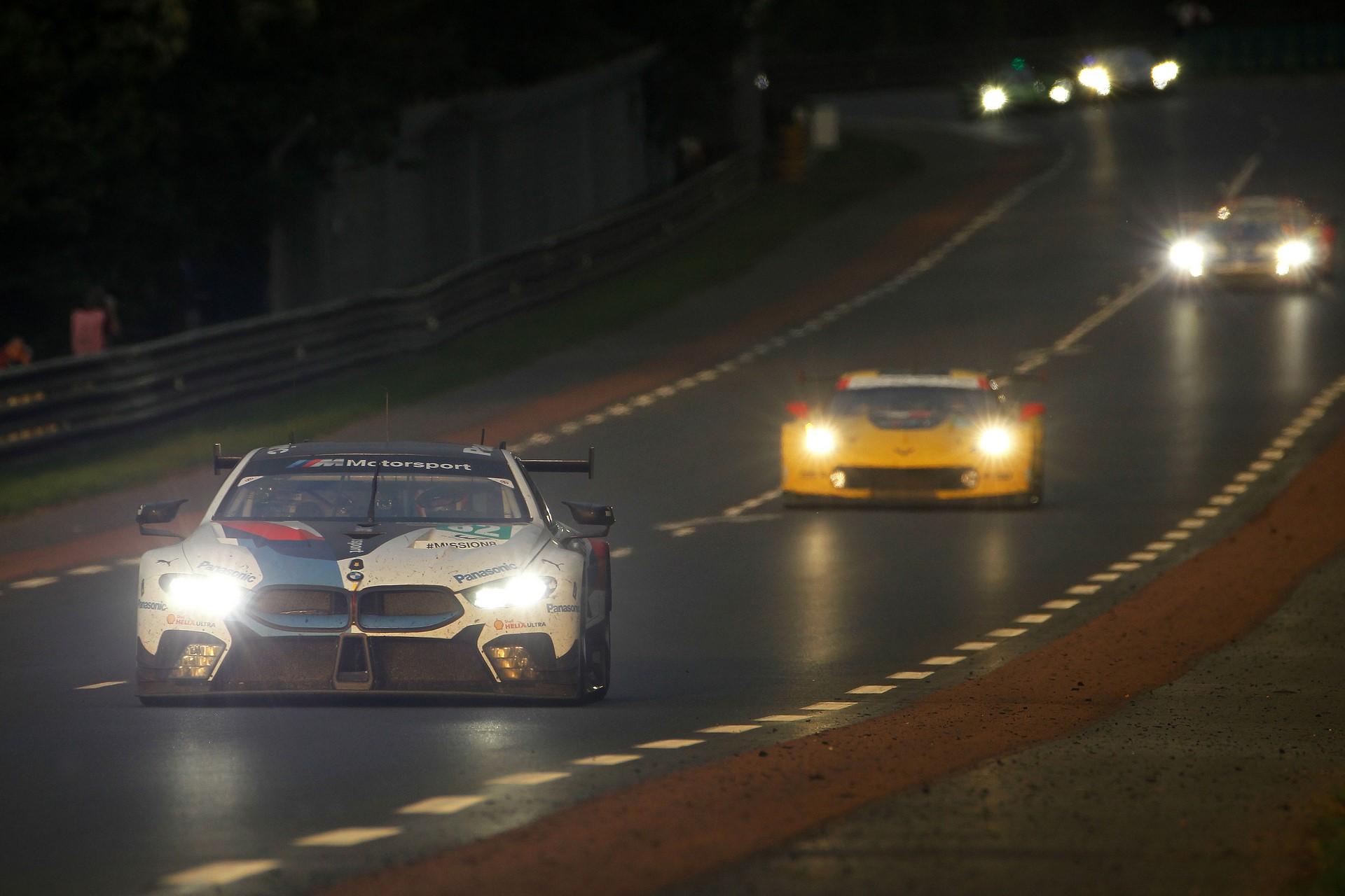 Le Mans (FRA), 16th June 2018. BMW M Motorsport, FIA World Endurance Championship (WEC), 24 Hours of Le Mans, #82 BMW M8 GTE, António Félix da Costa (POR), Alexander Sims (GRB), Augusto Farfus (BRA).