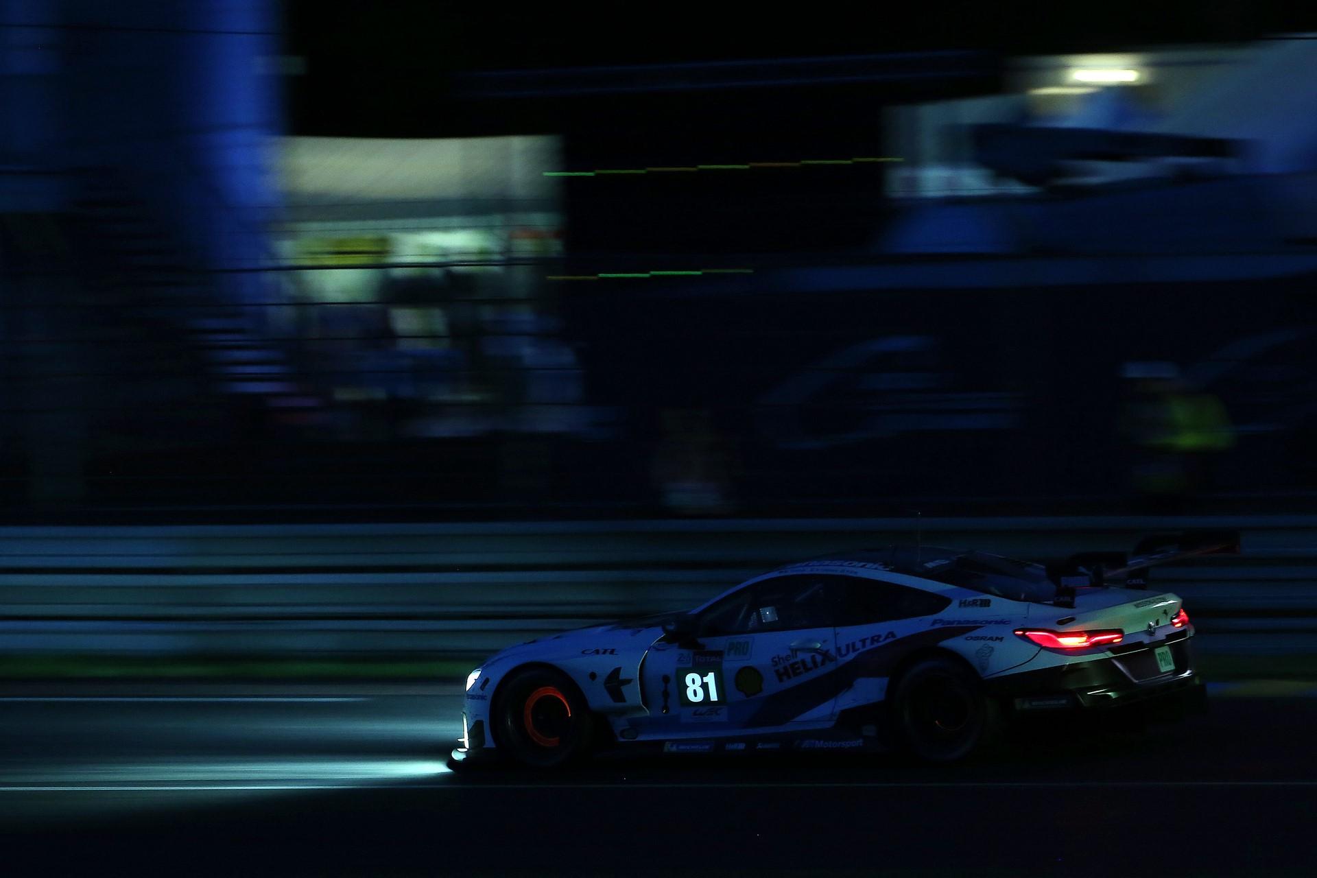 Le Mans (FRA), 16th June 2018. BMW M Motorsport, FIA World Endurance Championship (WEC), 24 Hours of Le Mans, #81 BMW M8 GTE, Martin Tomczyk (GER), Philipp Eng (AUT), Nick Catsburg (NED).