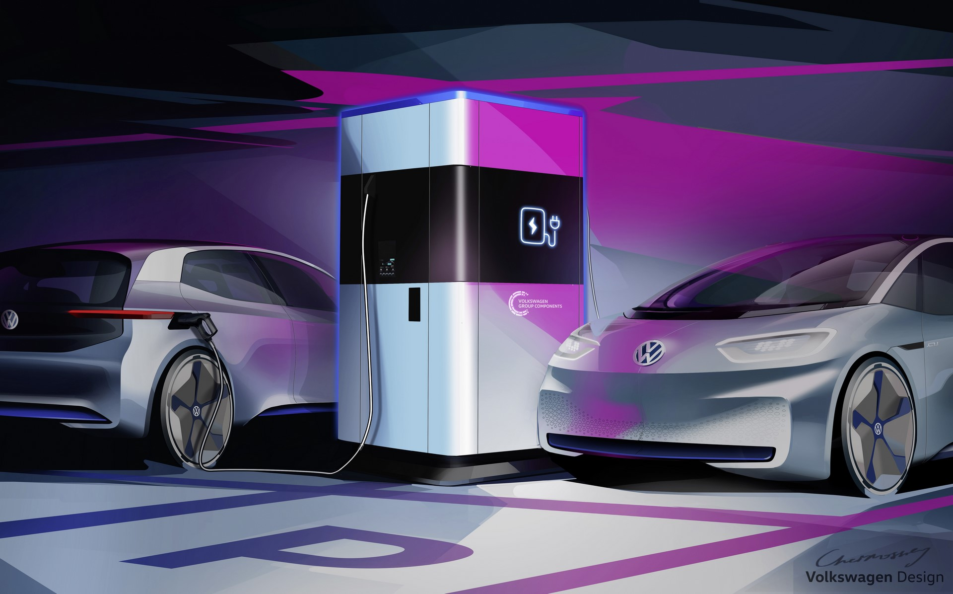 Power bank for electric cars – the mobile quick charging station by Volkswagen Group Components