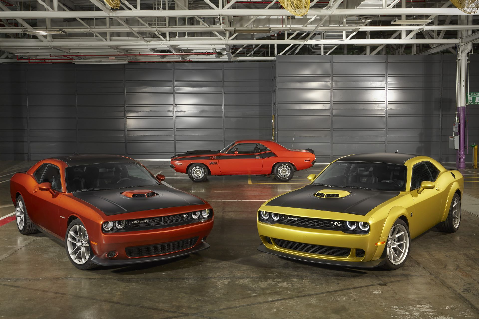 50th Anniversary Edition Challenger celebrates golden anniversary with new exterior paint color, body-color Shaker hood on HEMI® V-8 models, unique badging and heritage style available on four Challenger models.