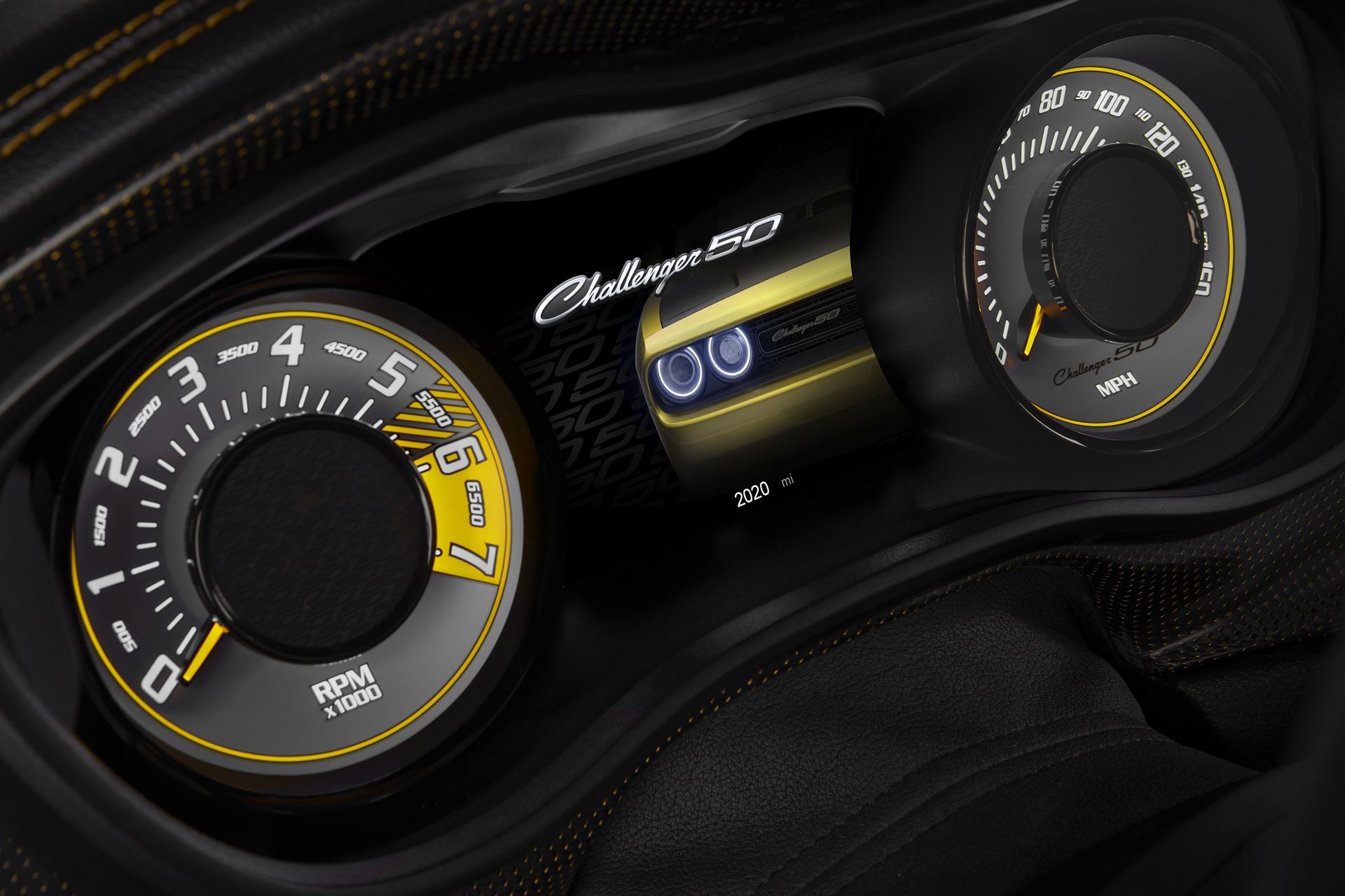 The 50th Anniversary Edition features a startup animation on the Electronic Vehicle Information Center (EVIC) screen that showcases the 2020 Challenger and unique white-faced gauges with yellow accents.
