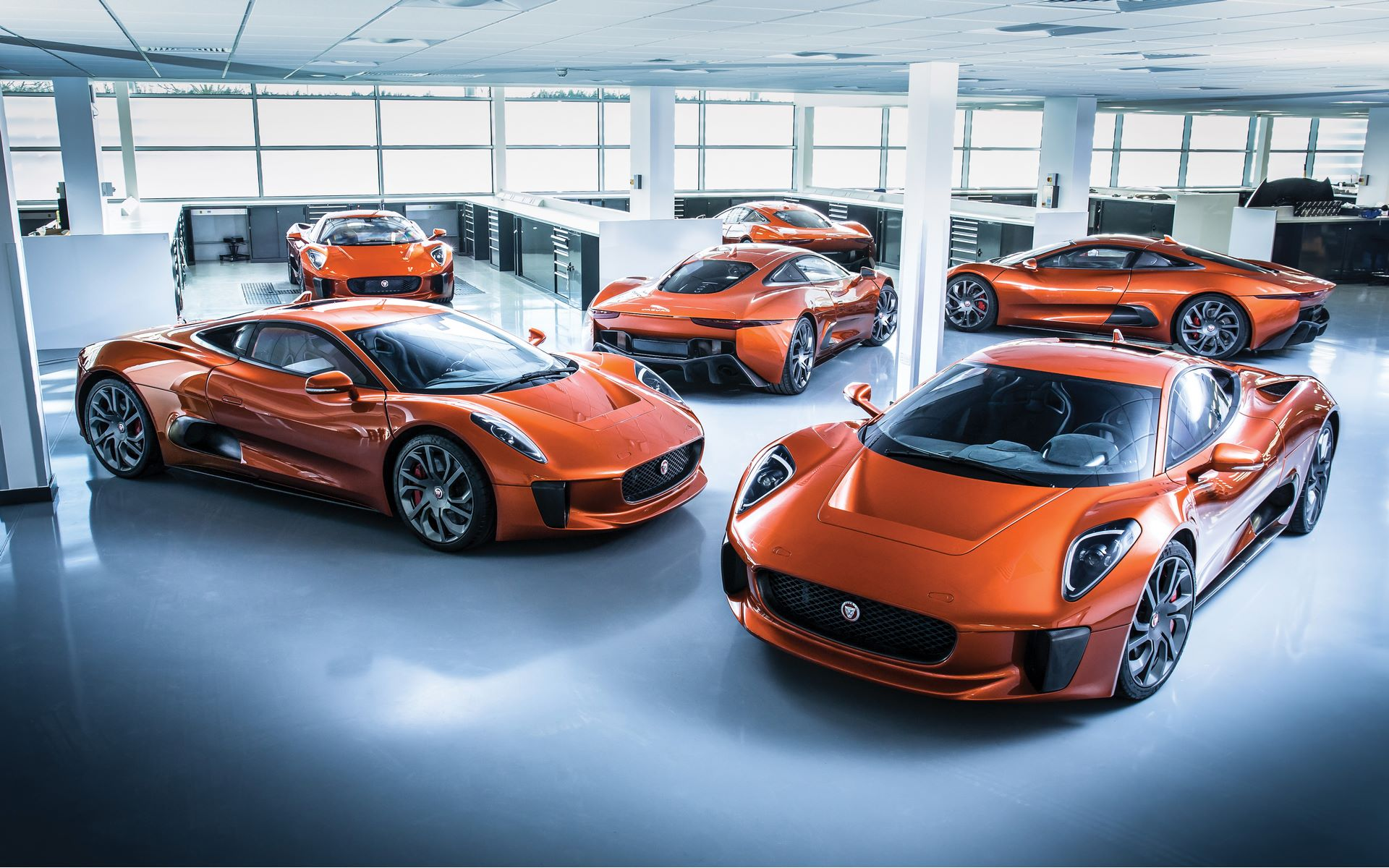 The lineup of Jaguar C-X75s at Williams prior to their release for on-screen duty in Spectre.