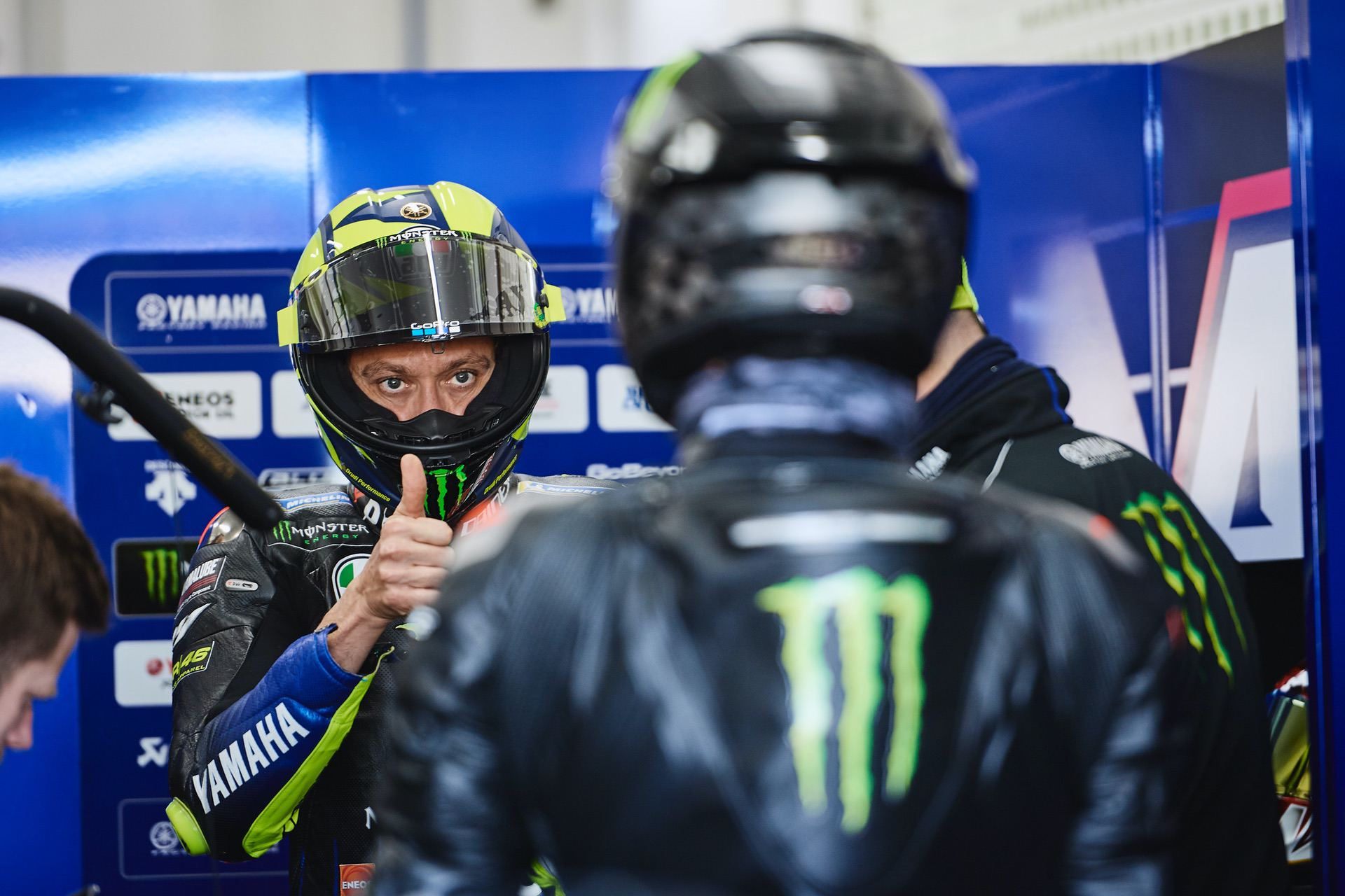 VALENCIA, SPAIN - DECEMBER 09: Atmosphere during the #LH44VR46 test at Ricardo Tormo circuit of Valencia on December 09, 2019 in Valencia, Spain. Lewis Hamilton and Valentino Rossi swapped their respective machinery in an unprecedented test between two motorsport icons. Photo by Guido De Bortoli/Getty Images for Monster Energy)