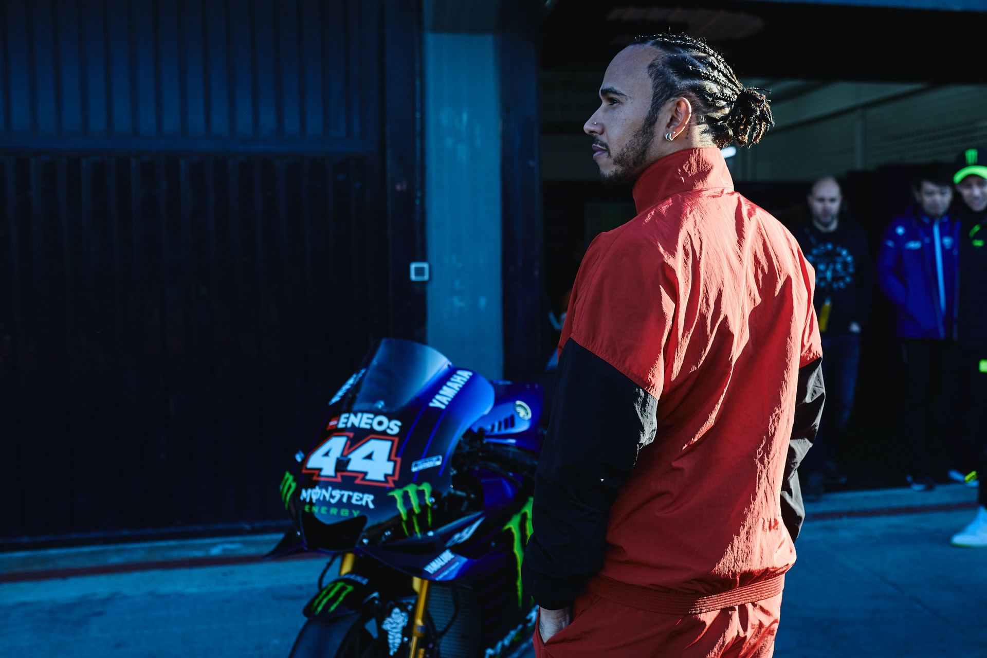 VALENCIA, SPAIN - DECEMBER 8: Lewis Hamilton and Valentino Rossi swap their respective machinery during the #LH44VR46 test on December 8, 2019 in Valencia, Spain. (Photo by Guido De Bortoli/Getty Images for Monster Energy)