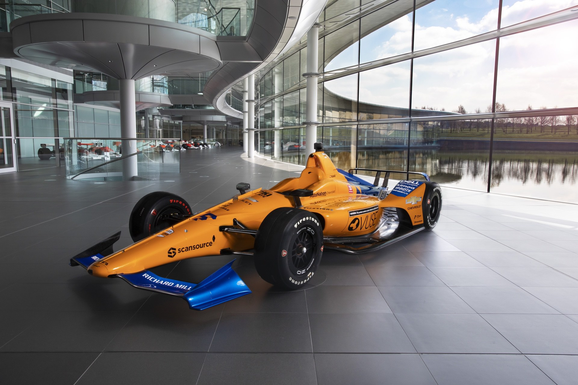 McLaren Indy500 car 2019 on the boulevard at McLaren Technology Centre