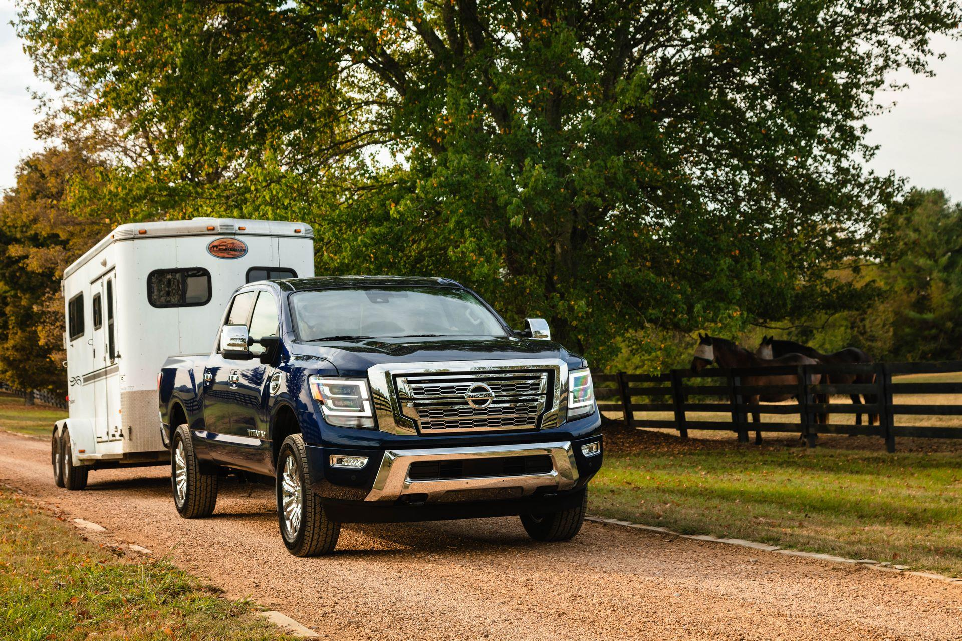 The new 2020 TITAN XD offers confident towing and hauling usually provided by larger, more-expensive heavy-duty trucks, while still providing the comfort and nimbleness of a light-duty pickup. Among the list of TITAN XD's available towing aids are an Integrated Trailer Brake Controller, Trailer Sway Control (TSC), Tow/Haul Mode with Downhill Speed Control and a Trailer Light Check system that allows one-person hook-up operation.
