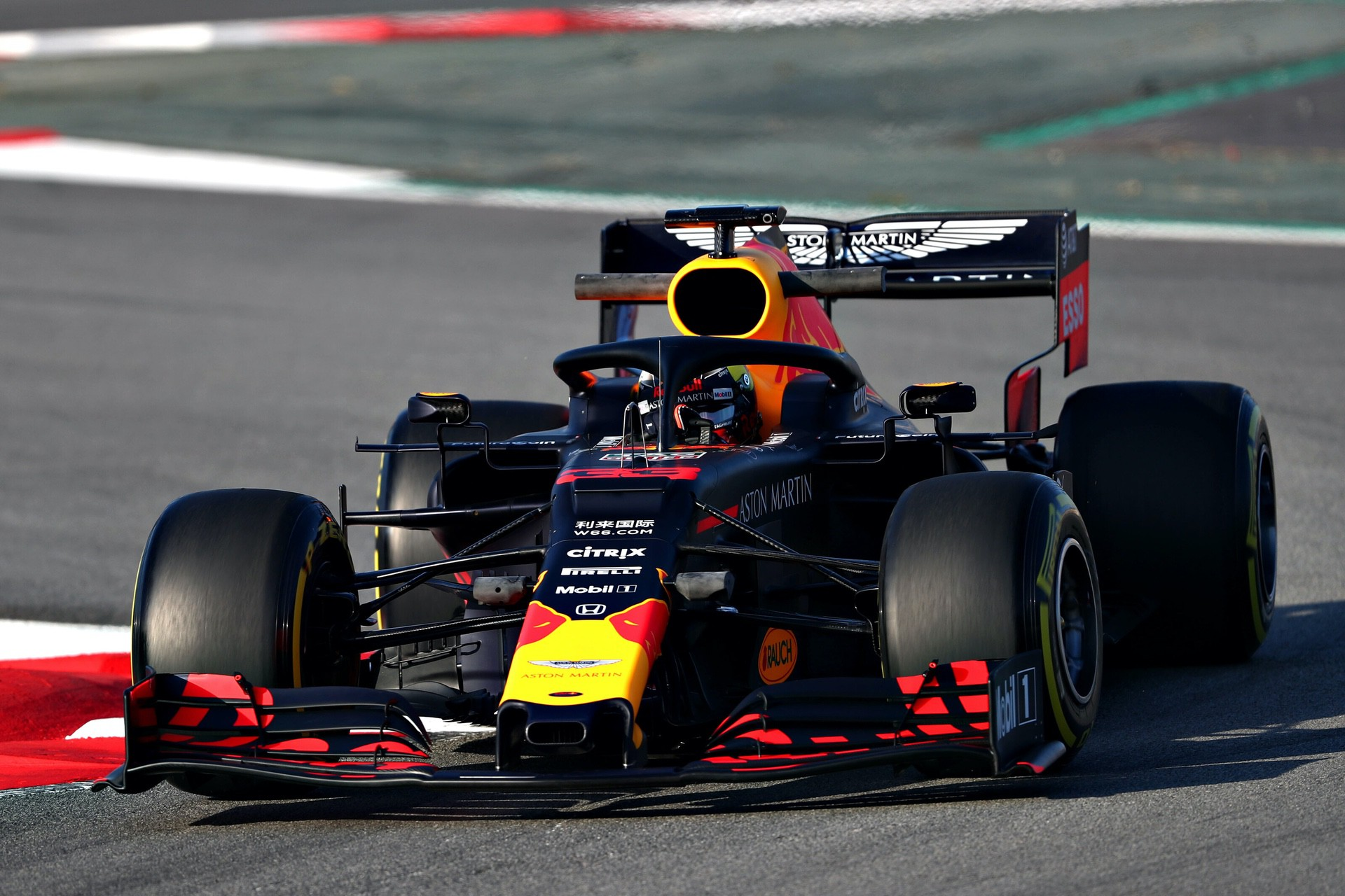 MONTMELO, SPAIN - FEBRUARY 18: Max Verstappen of the Netherlands driving the (33) Aston Martin Red Bull Racing RB15 on track during day one of F1 Winter Testing at Circuit de Catalunya on February 18, 2019 in Montmelo, Spain. (Photo by Dan Istitene/Getty Images) // Getty Images / Red Bull Content Pool  // AP-1YFQGD6611W12 // Usage for editorial use only // Please go to www.redbullcontentpool.com for further information. //