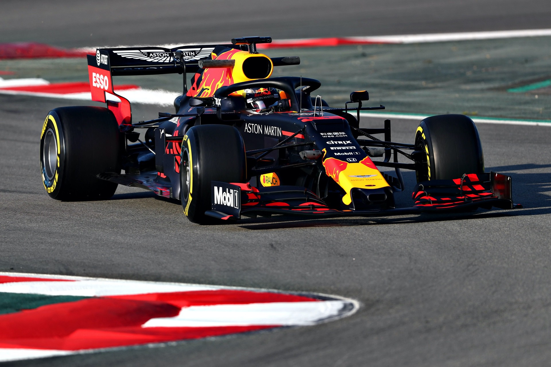 MONTMELO, SPAIN - FEBRUARY 18: Max Verstappen of the Netherlands driving the (33) Aston Martin Red Bull Racing RB15 on track during day one of F1 Winter Testing at Circuit de Catalunya on February 18, 2019 in Montmelo, Spain. (Photo by Dan Istitene/Getty Images) // Getty Images / Red Bull Content Pool  // AP-1YFQGD91N1W12 // Usage for editorial use only // Please go to www.redbullcontentpool.com for further information. //