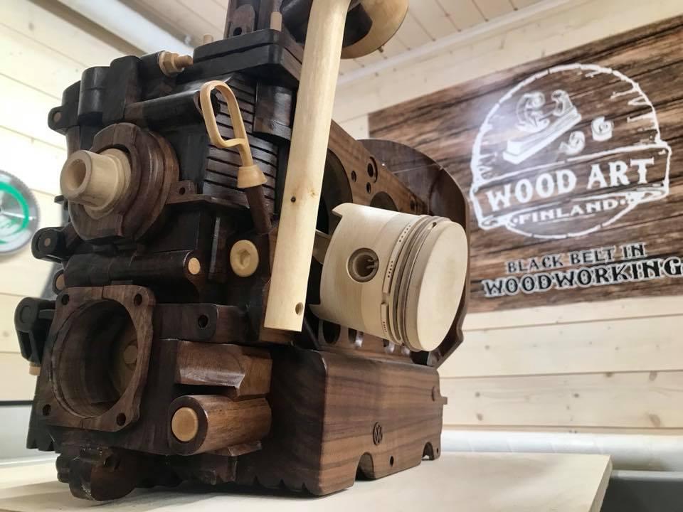 Wooden Volkswagen Engine Wood Art Finland (1)
