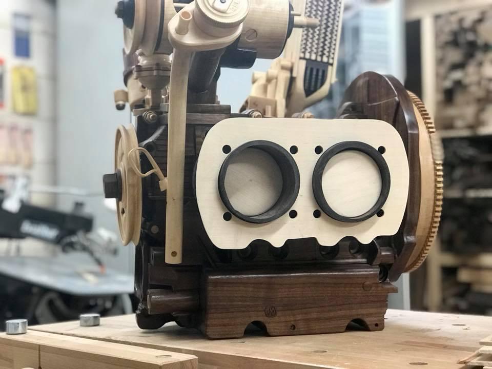Wooden Volkswagen Engine Wood Art Finland (100)