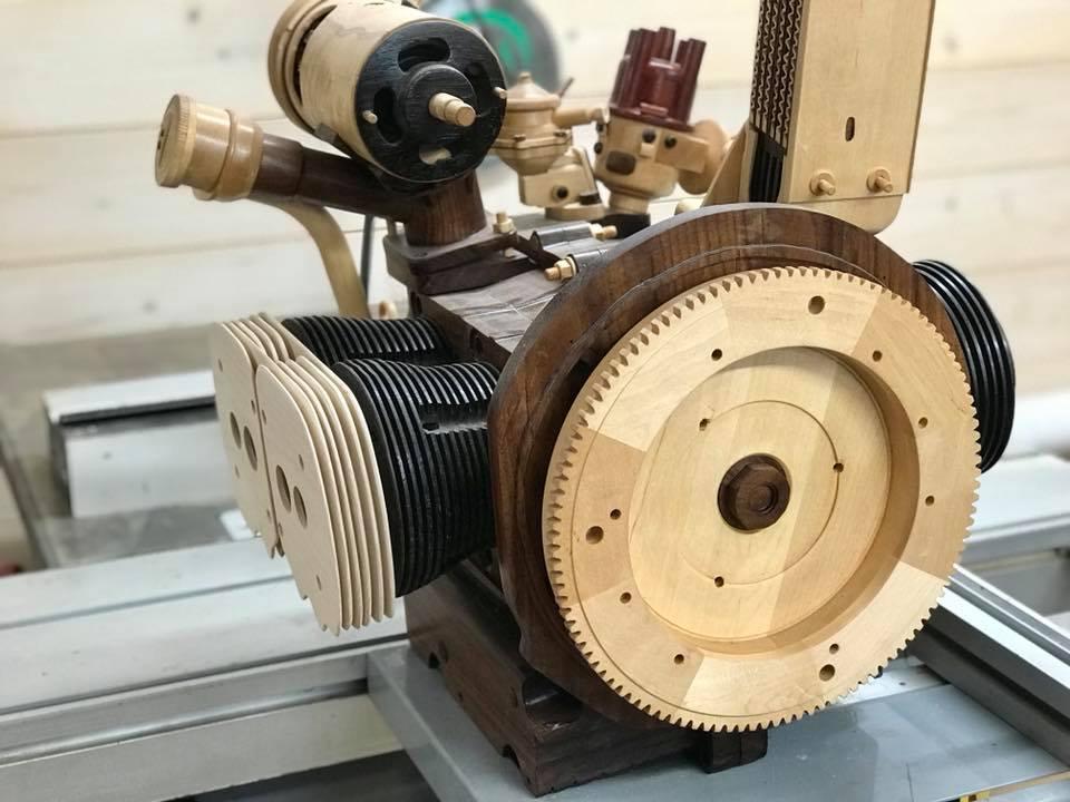 Wooden Volkswagen Engine Wood Art Finland (101)