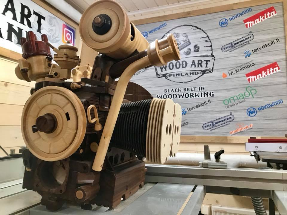 Wooden Volkswagen Engine Wood Art Finland (119)